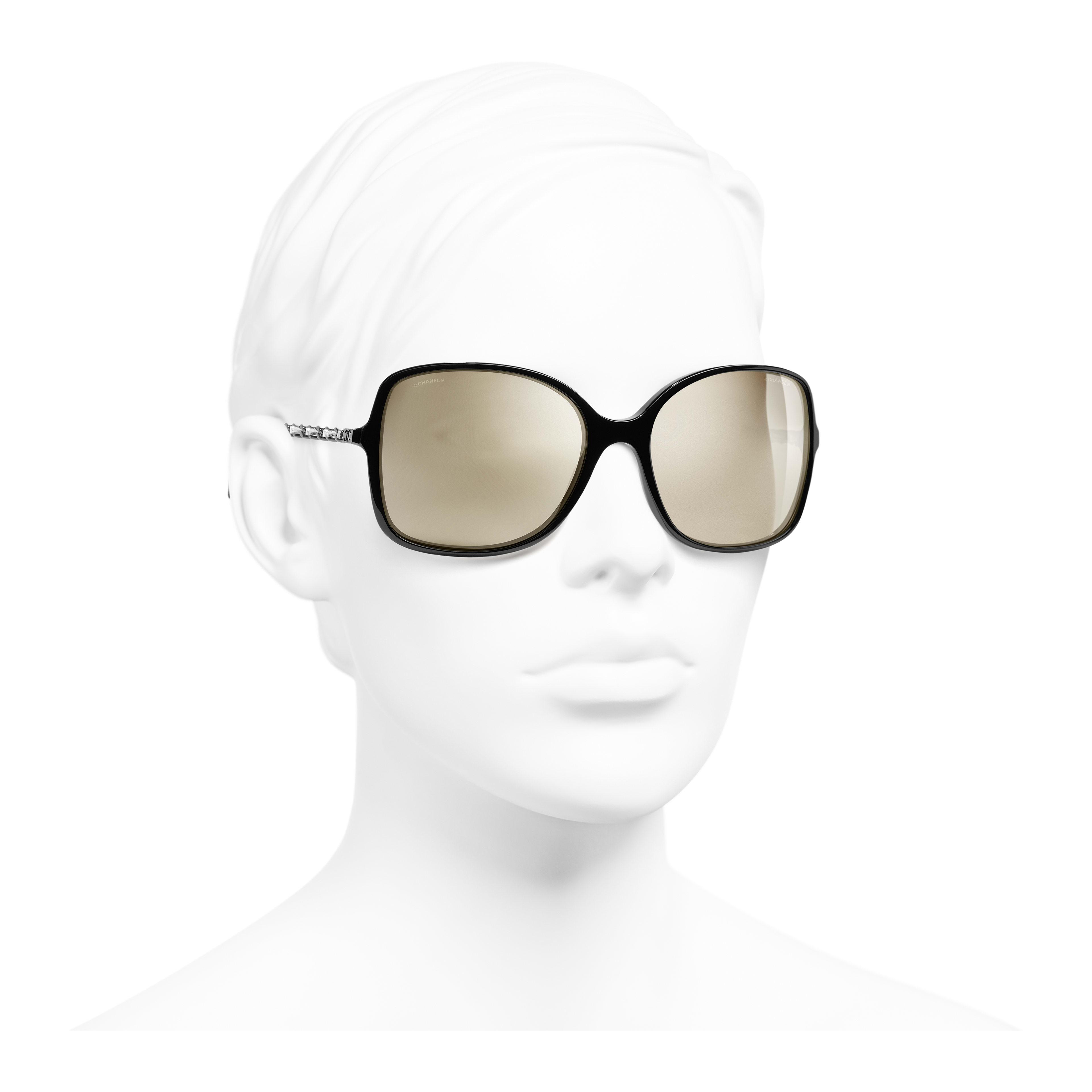 Square Sunglasses - Black - Acetate & Lambskin - Gold Lenses - Worn 3/4 view - see full sized version