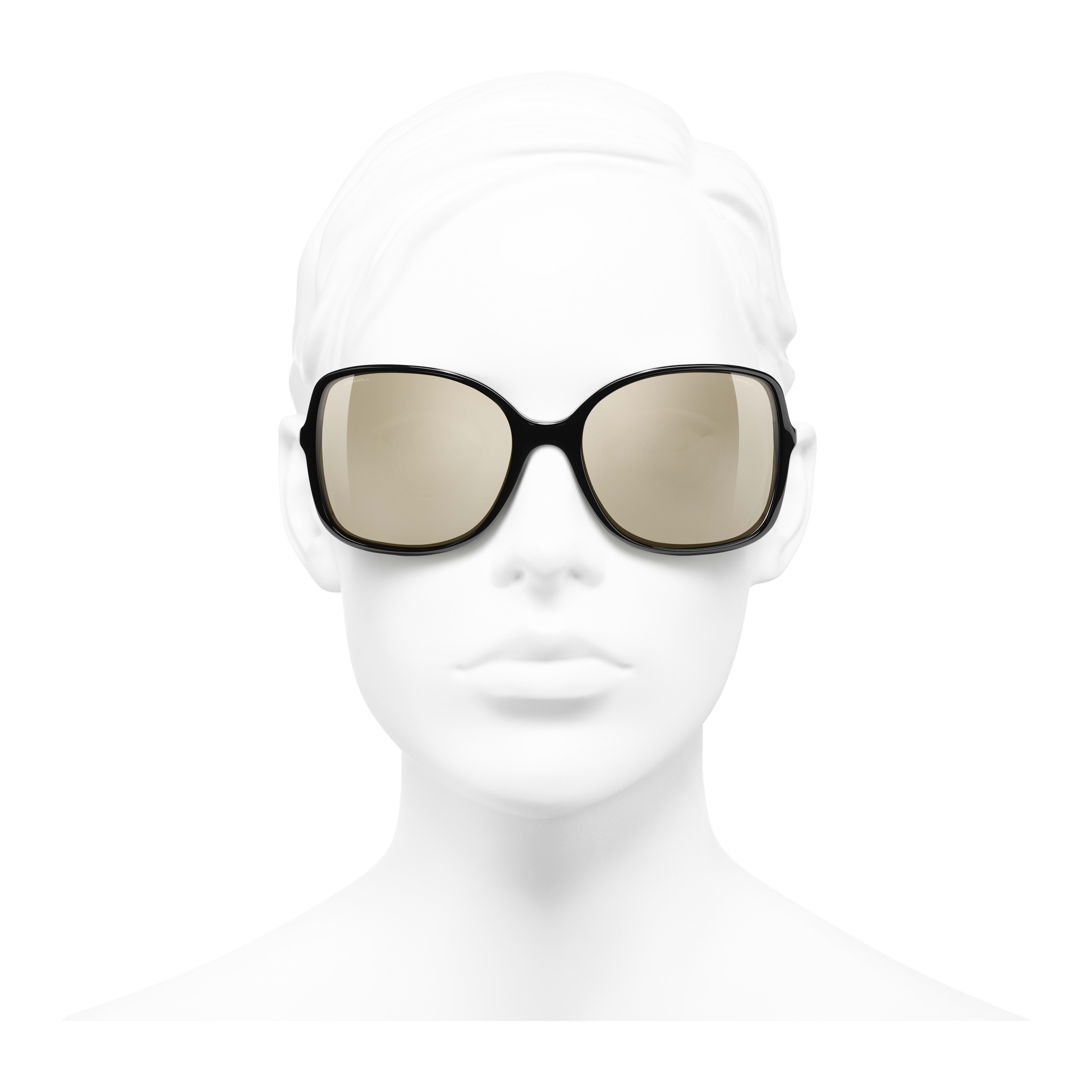 Square Sunglasses - Black - Acetate & Lambskin - Gold Lenses - Worn front view - see full sized version