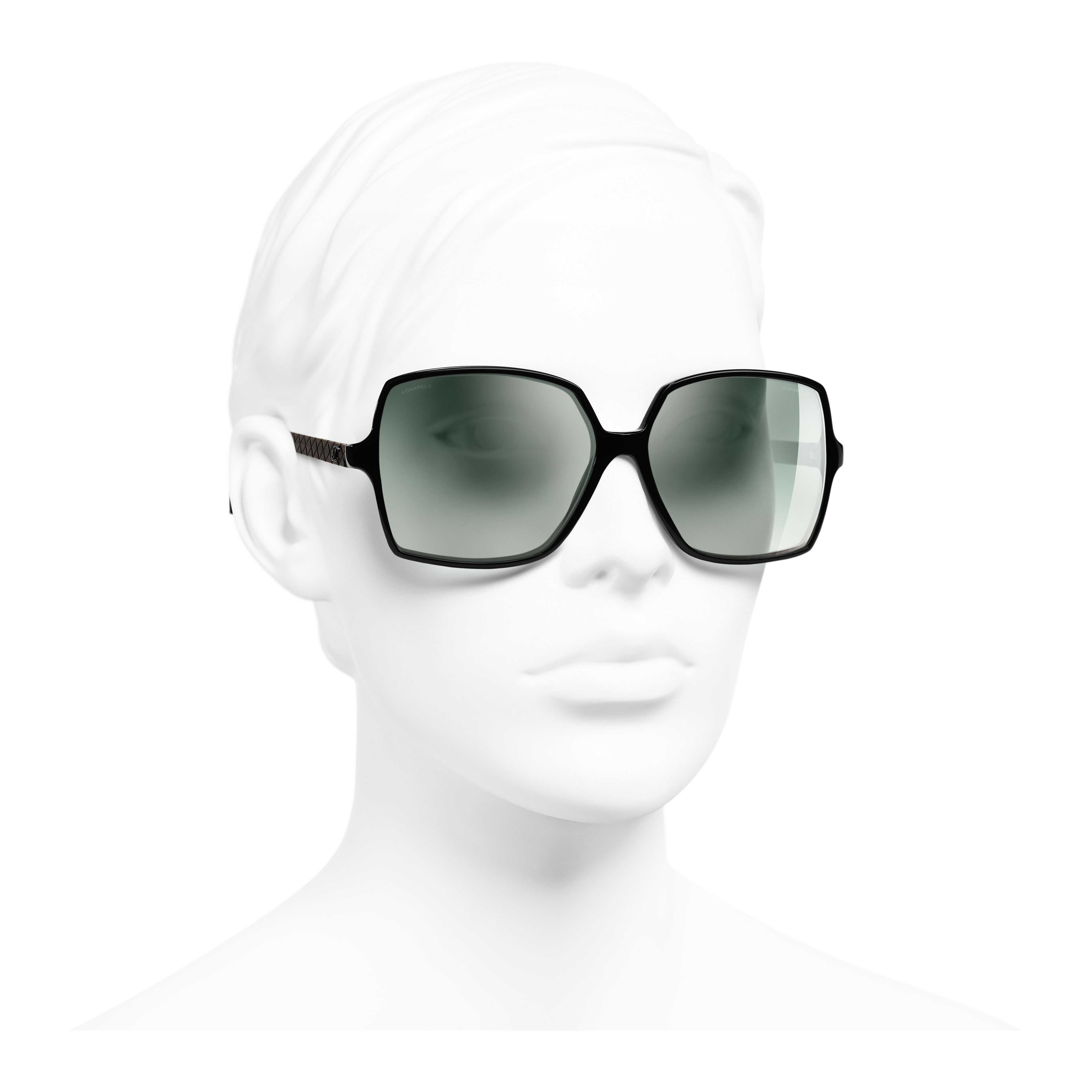 Square Sunglasses - Black - Acetate, Wood & Rubber - Worn 3/4 view - see full sized version