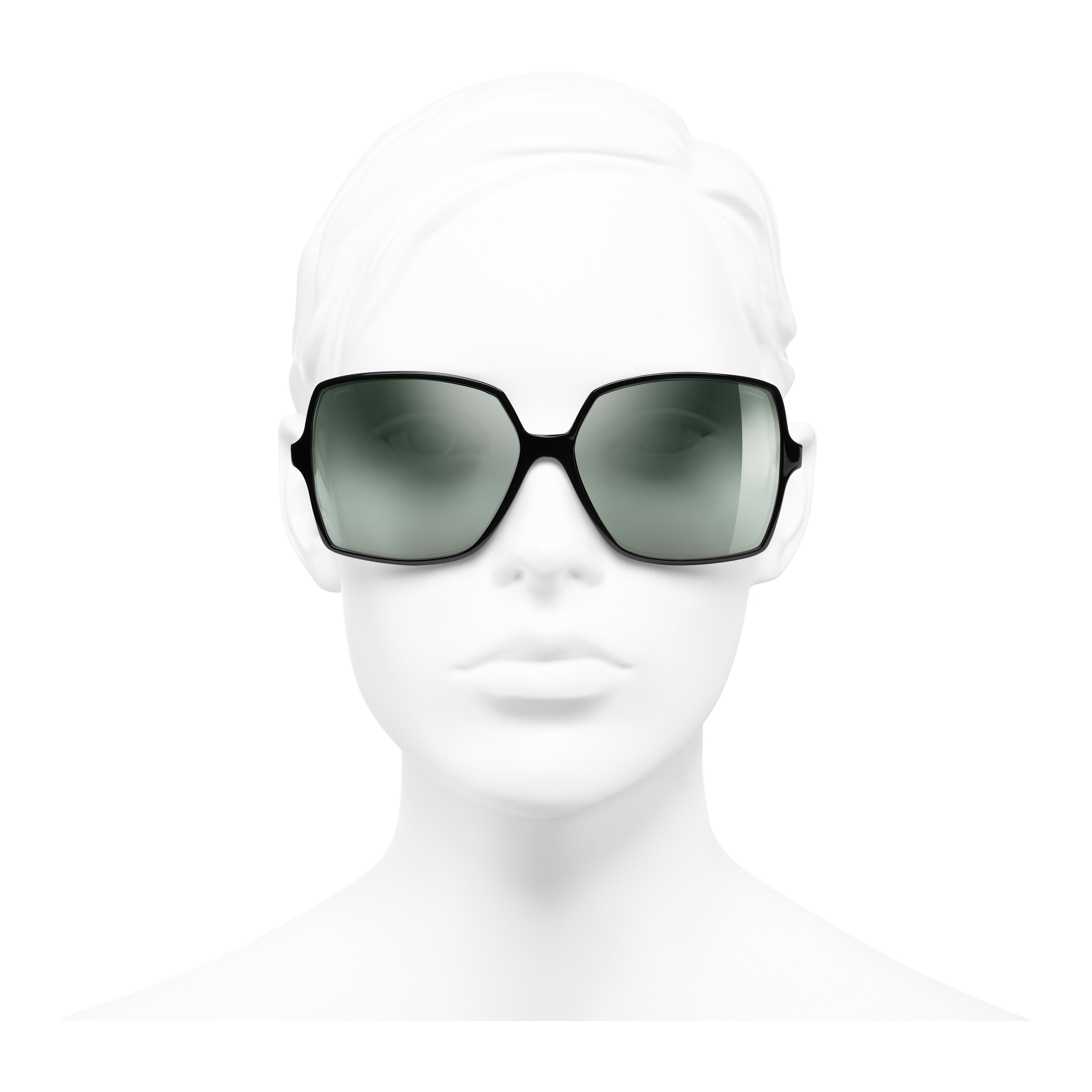Square Sunglasses - Black - Acetate, Wood & Rubber - Worn front view - see full sized version