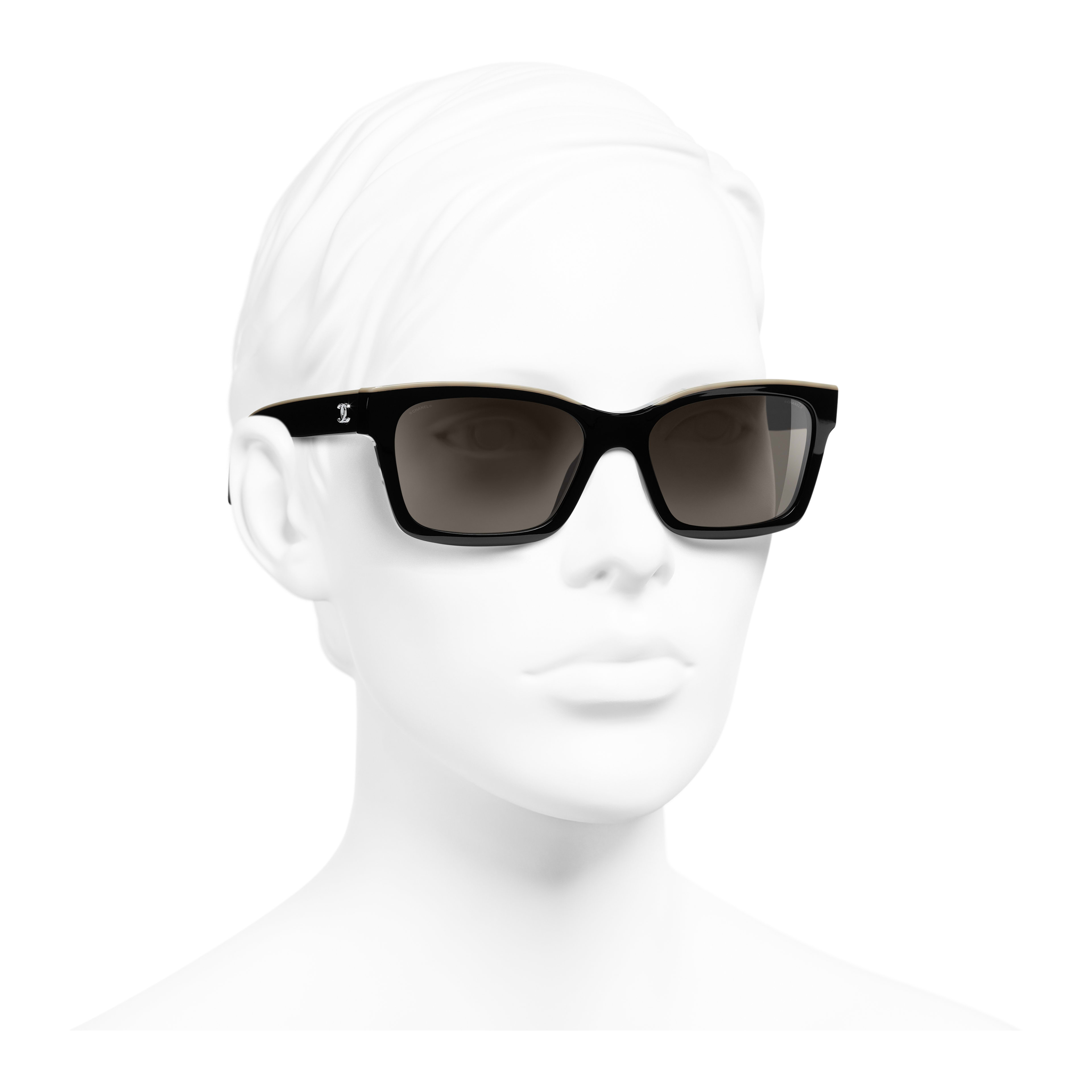 Square Sunglasses - Black & Beige - Acetate - Worn 3/4 view - see full sized version