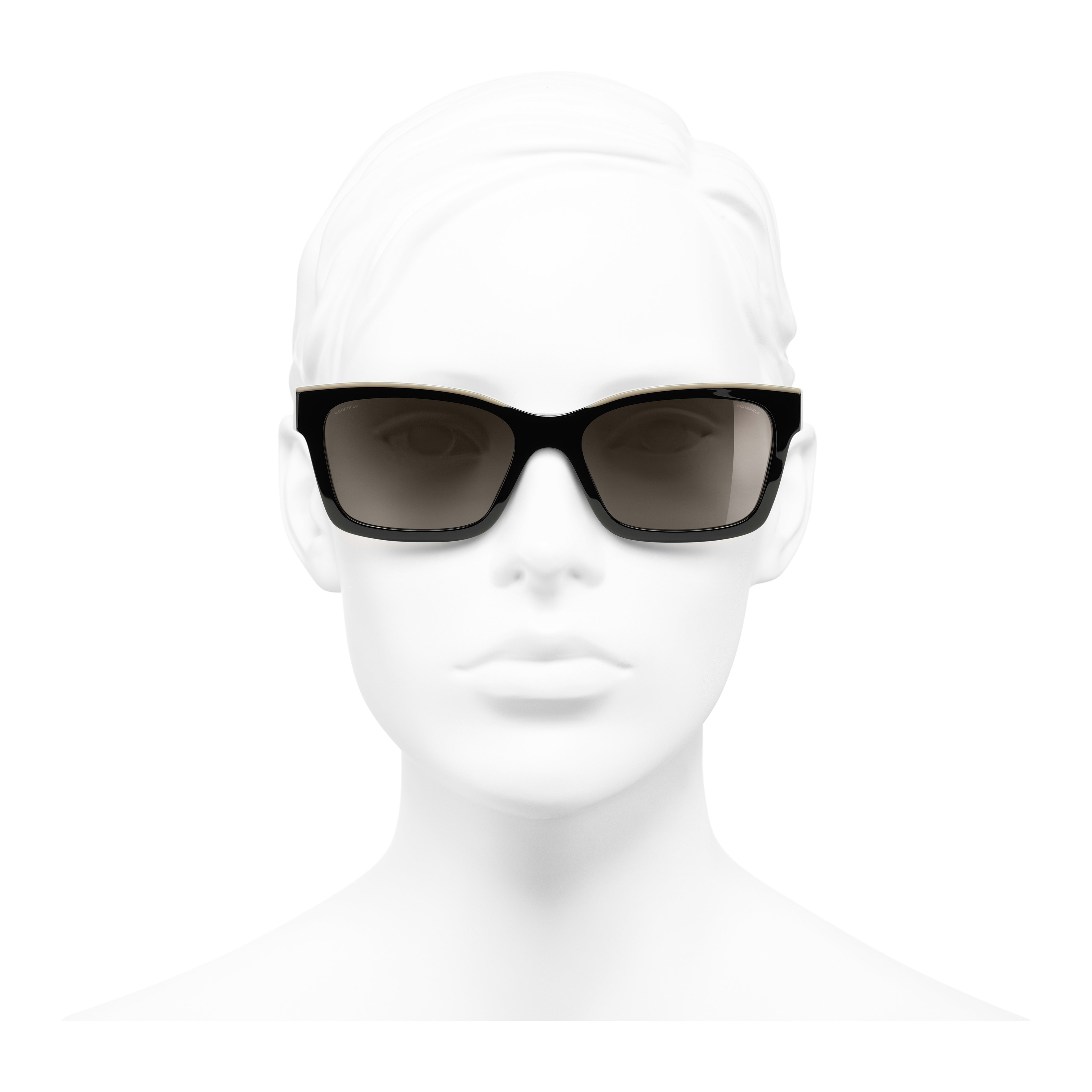 Square Sunglasses - Black & Beige - Acetate - Worn front view - see full sized version