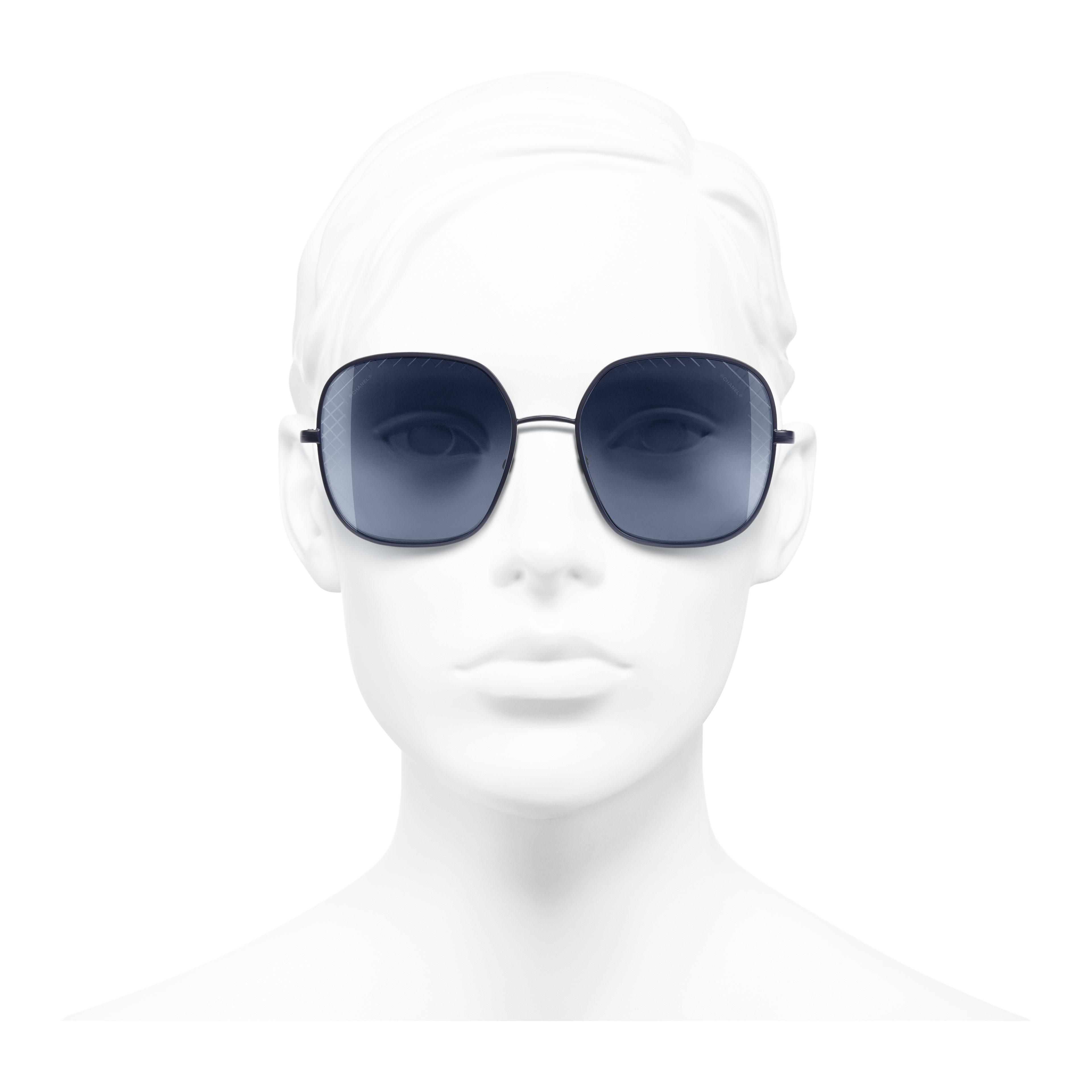 Square Sunglasses - Blue - Metal - Worn front view - see full sized version