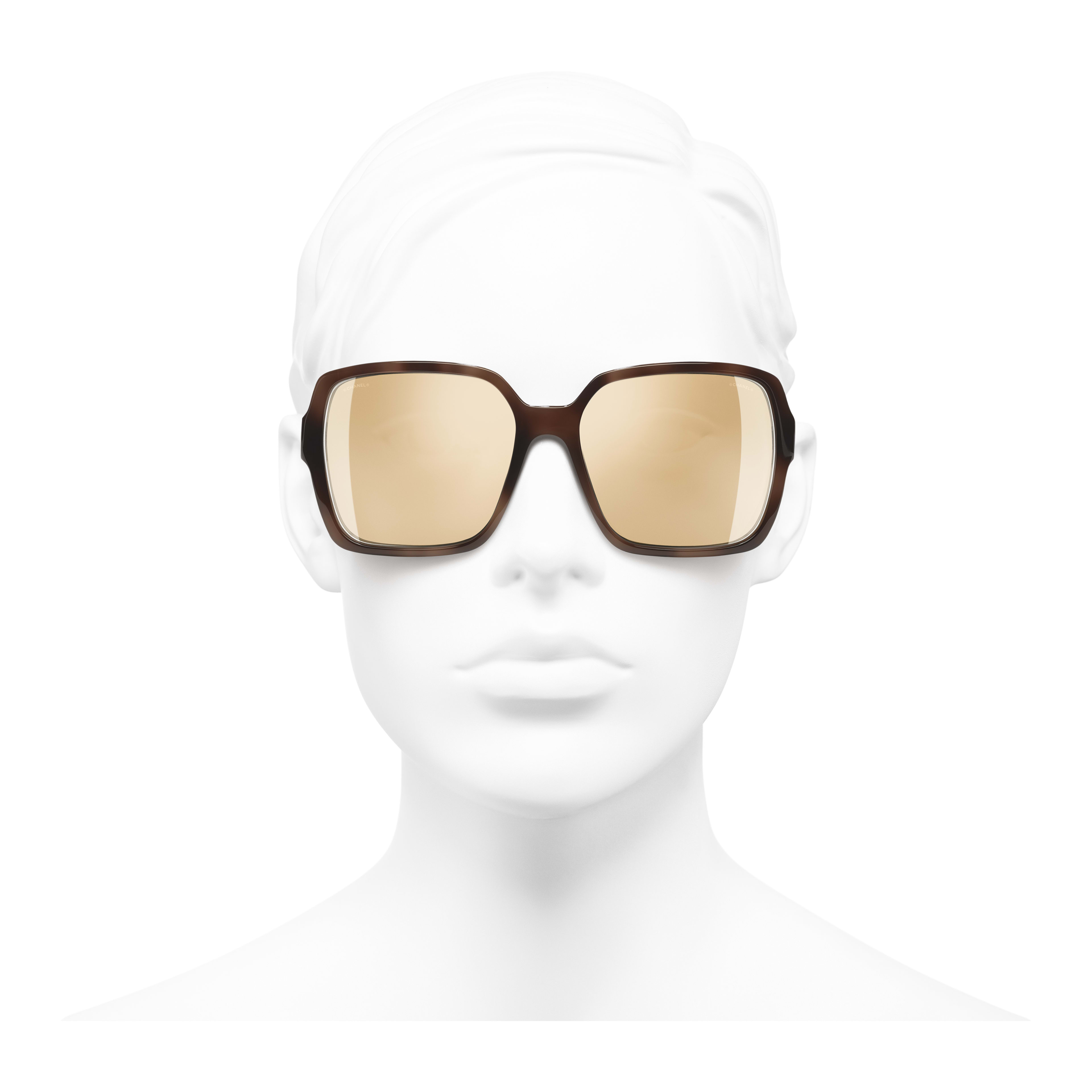Square Sunglasses - Brown - Acetate - Worn front view - see full sized version