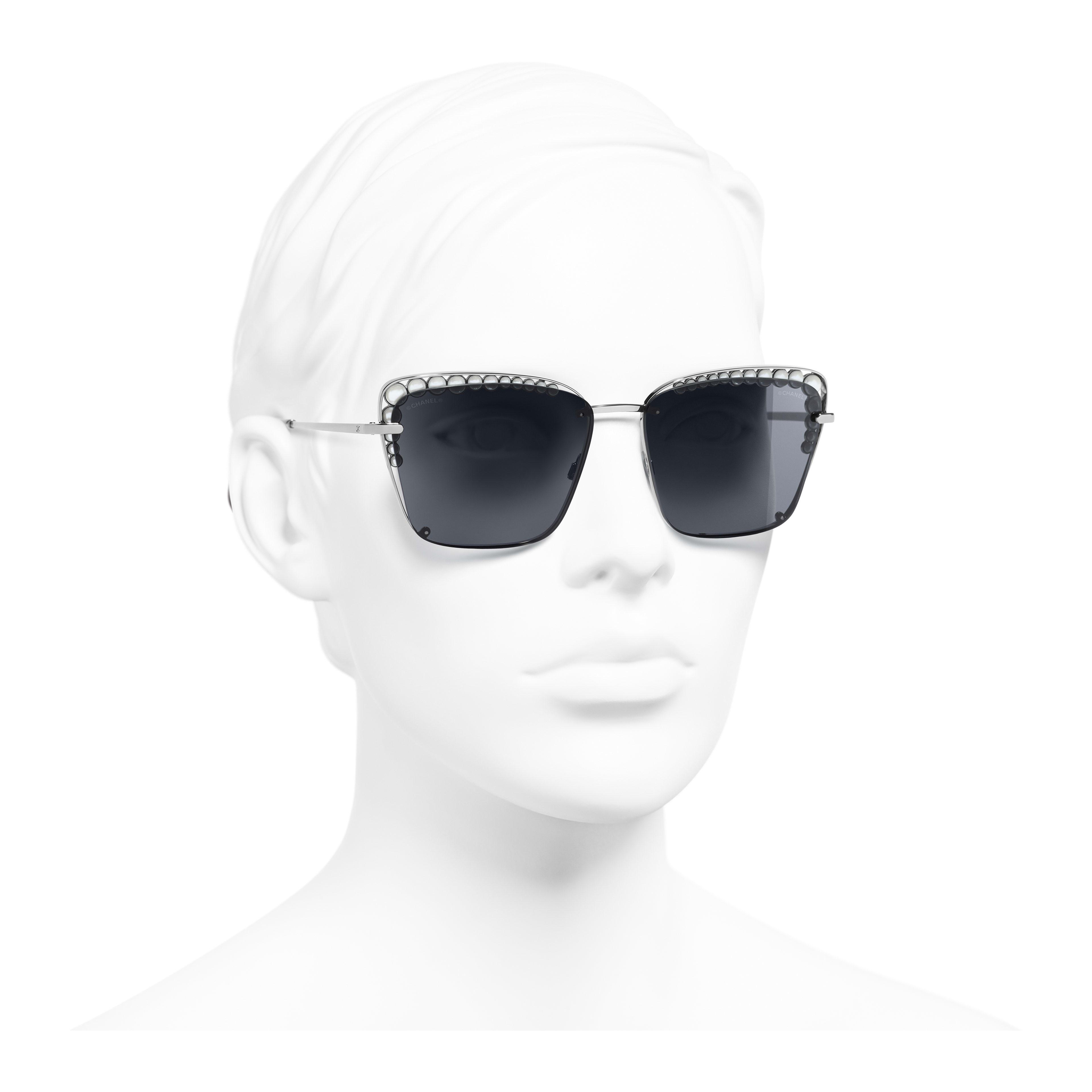 Square Sunglasses - Dark Silver - Metal & Imitation Pearls - Worn 3/4 view - see full sized version