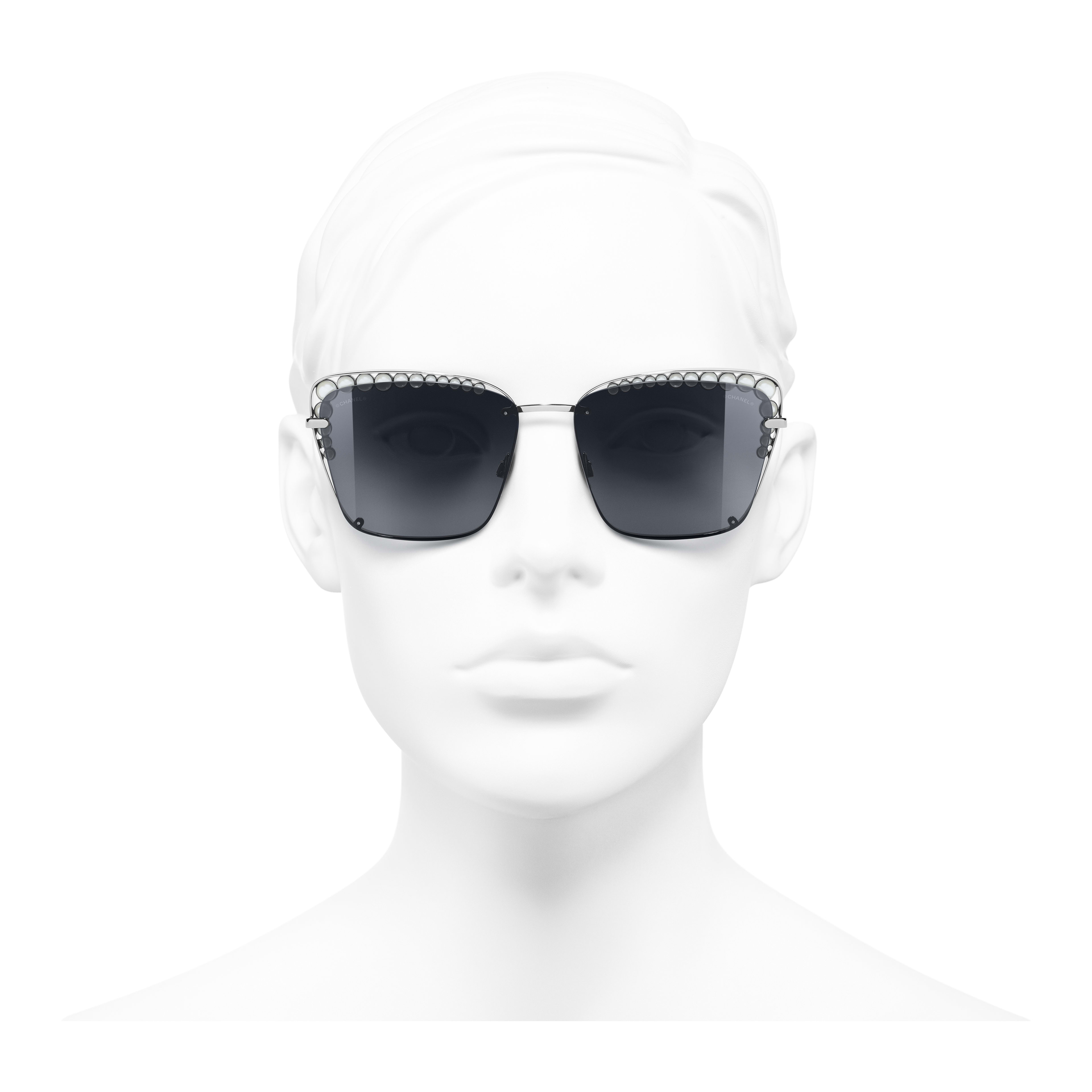 Square Sunglasses - Dark Silver - Metal & Imitation Pearls - Worn front view - see full sized version