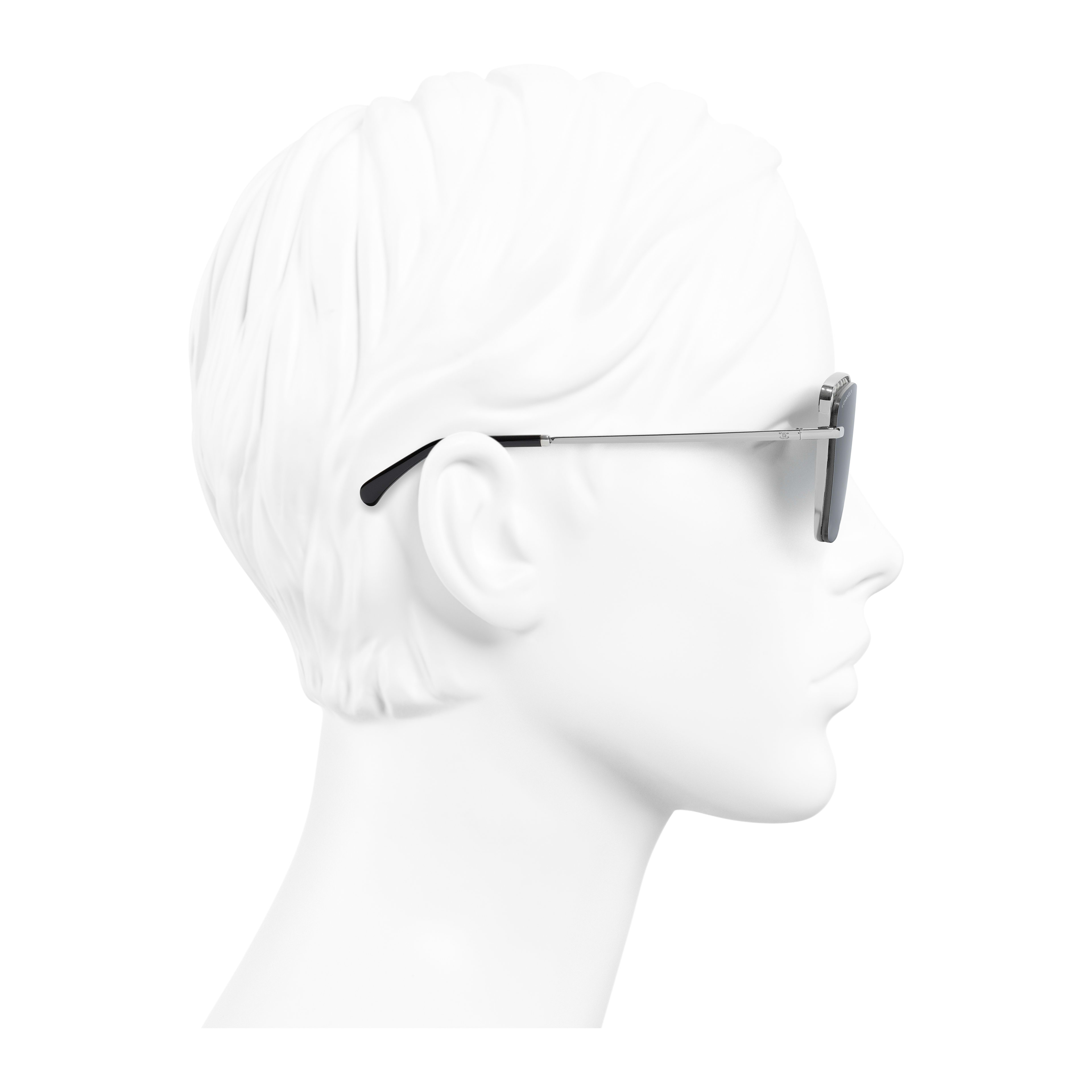 Square Sunglasses - Dark Silver - Metal & Imitation Pearls - Worn side view - see full sized version