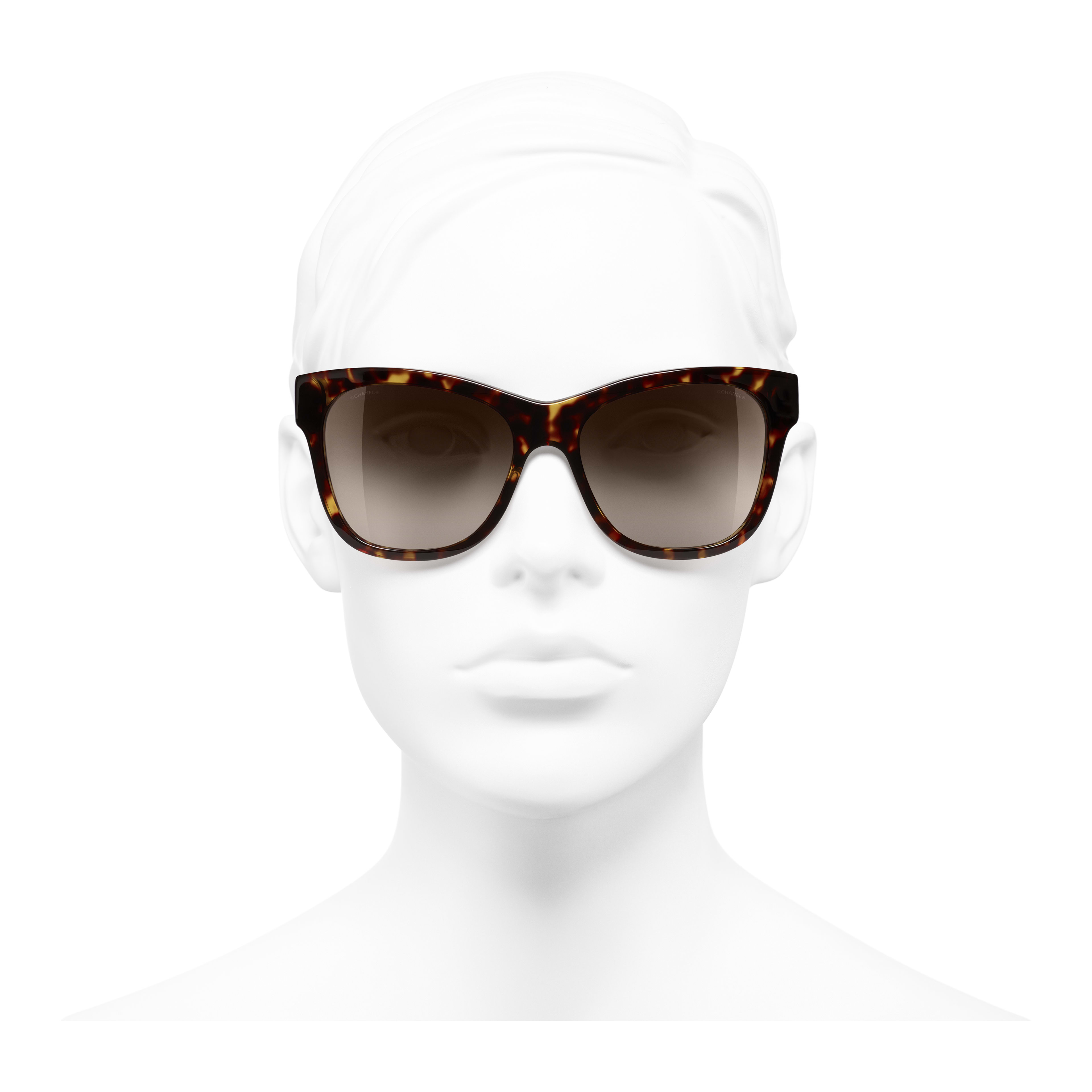 Square Sunglasses - Dark Tortoise - Acetate - Worn front view - see full sized version