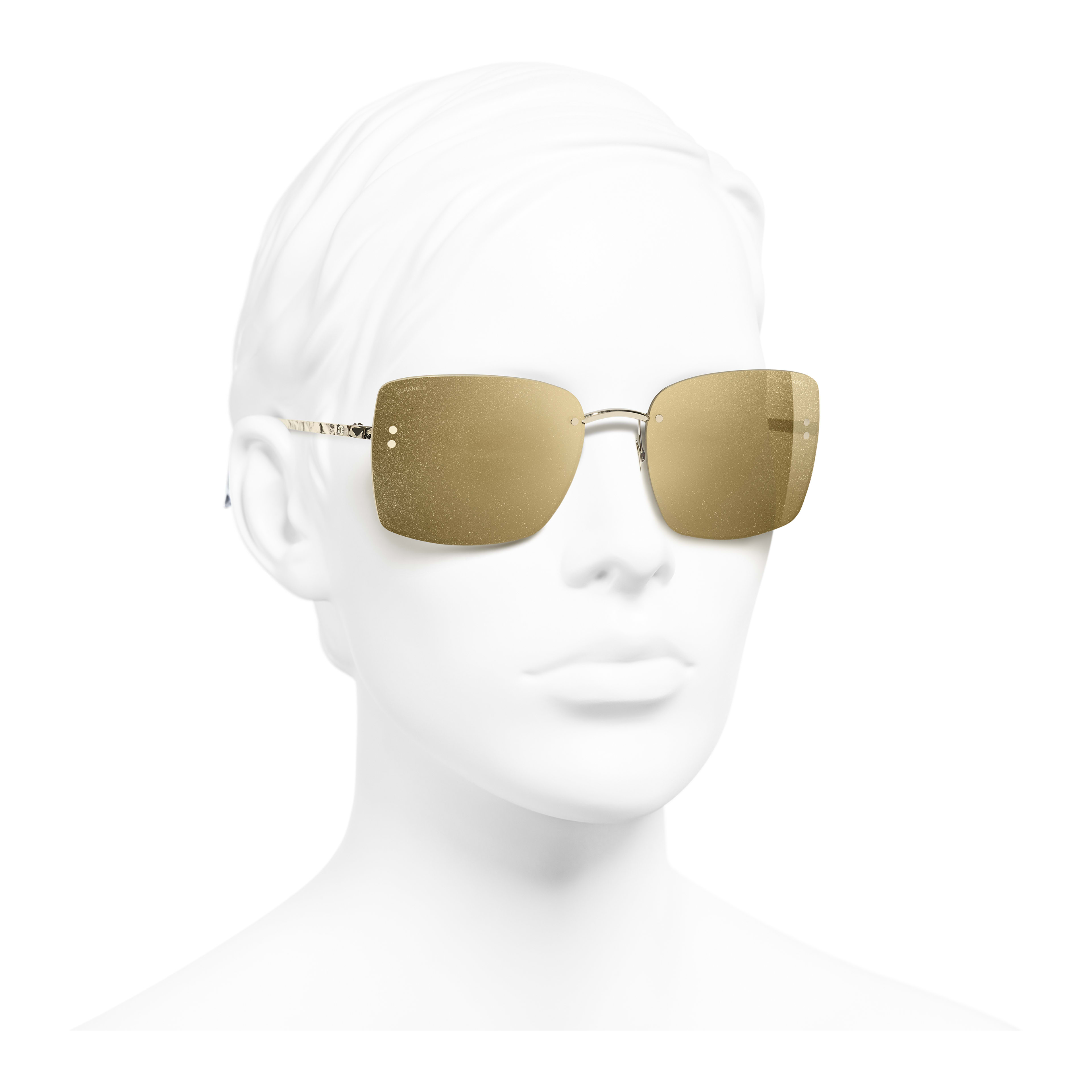 Square Sunglasses - Gold - Metal - Worn 3/4 view - see full sized version