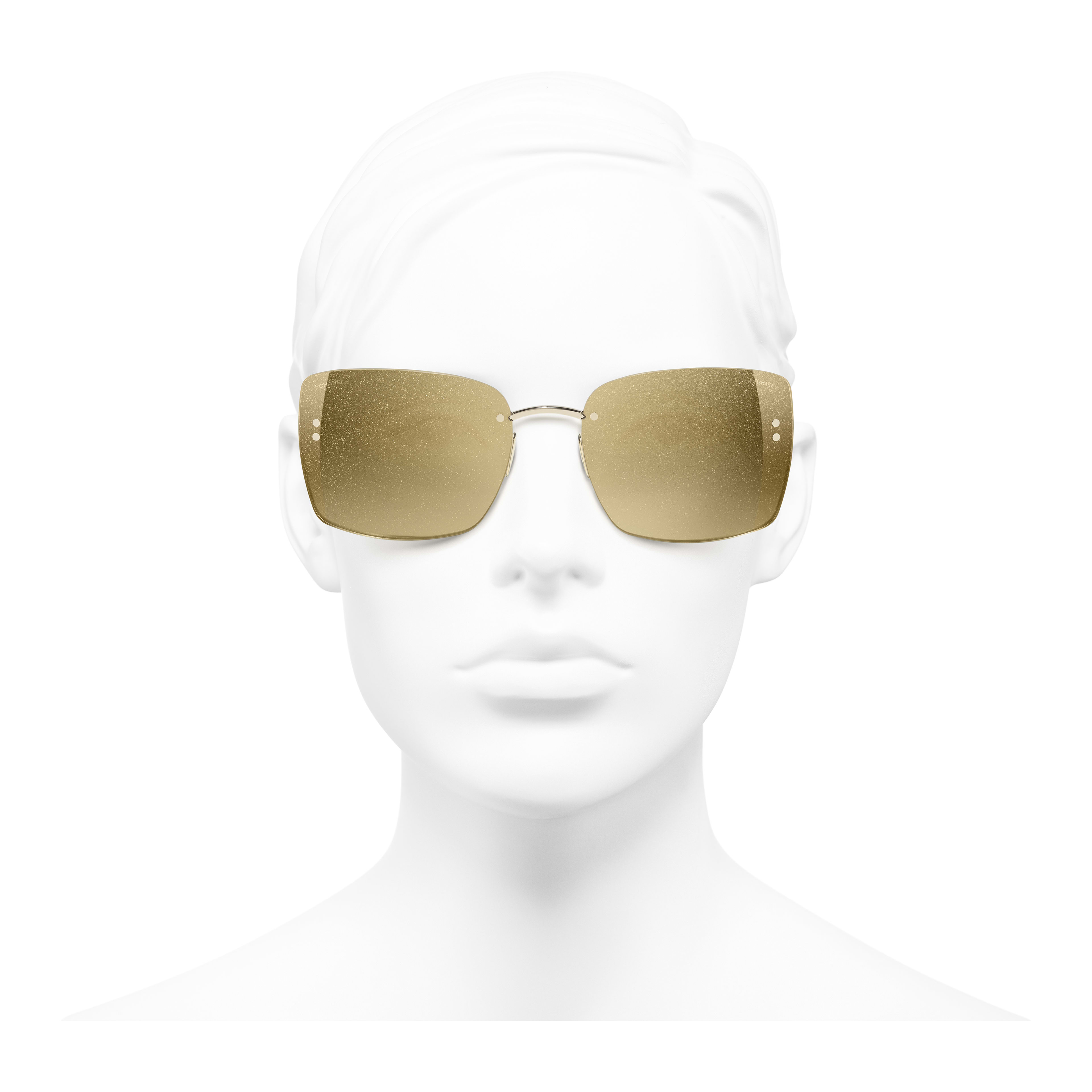 Square Sunglasses - Gold - Metal - Worn front view - see full sized version
