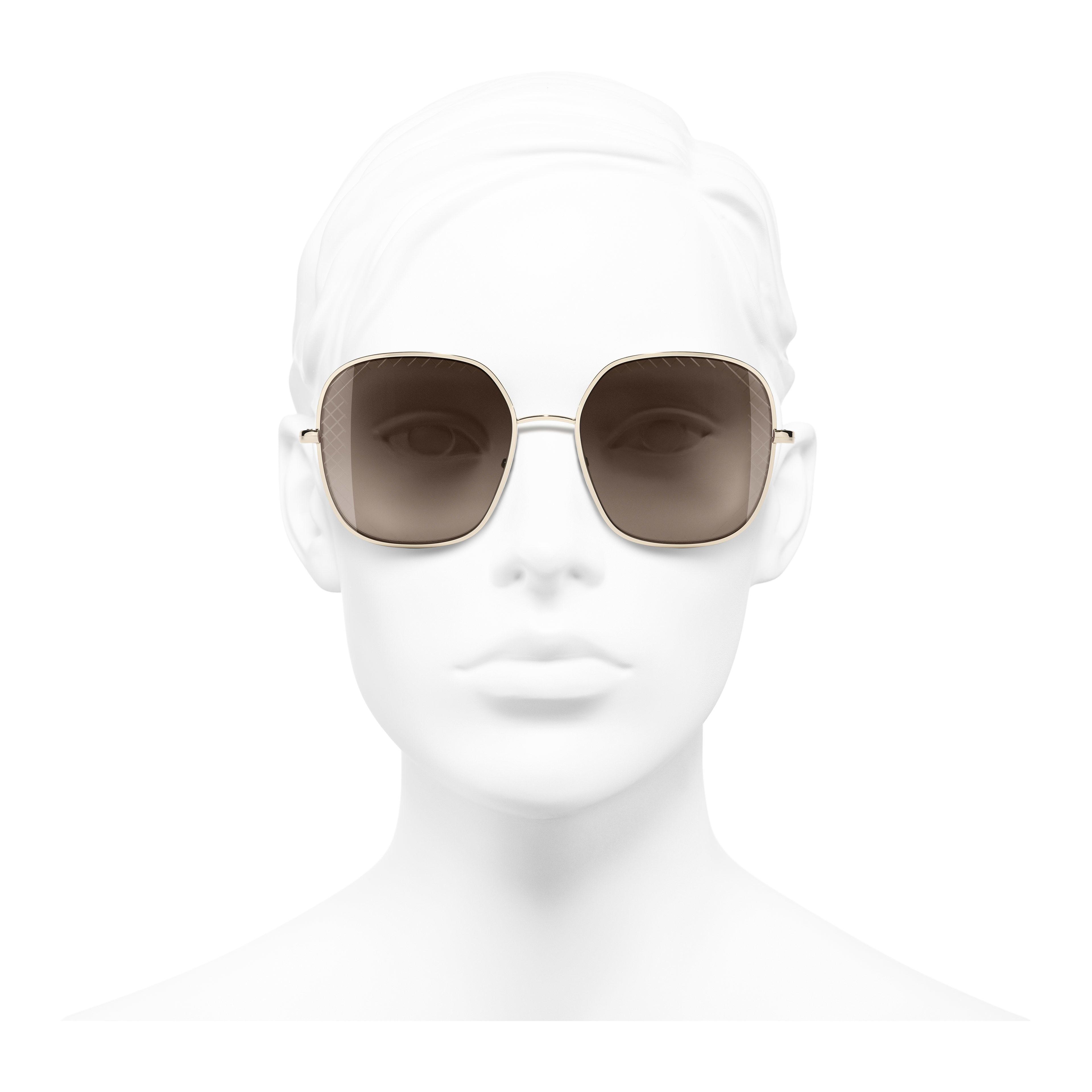 Солнцезащитные очки квадратной формы - Золотистый - Металл - Вид анфас - посмотреть полноразмерное изображение