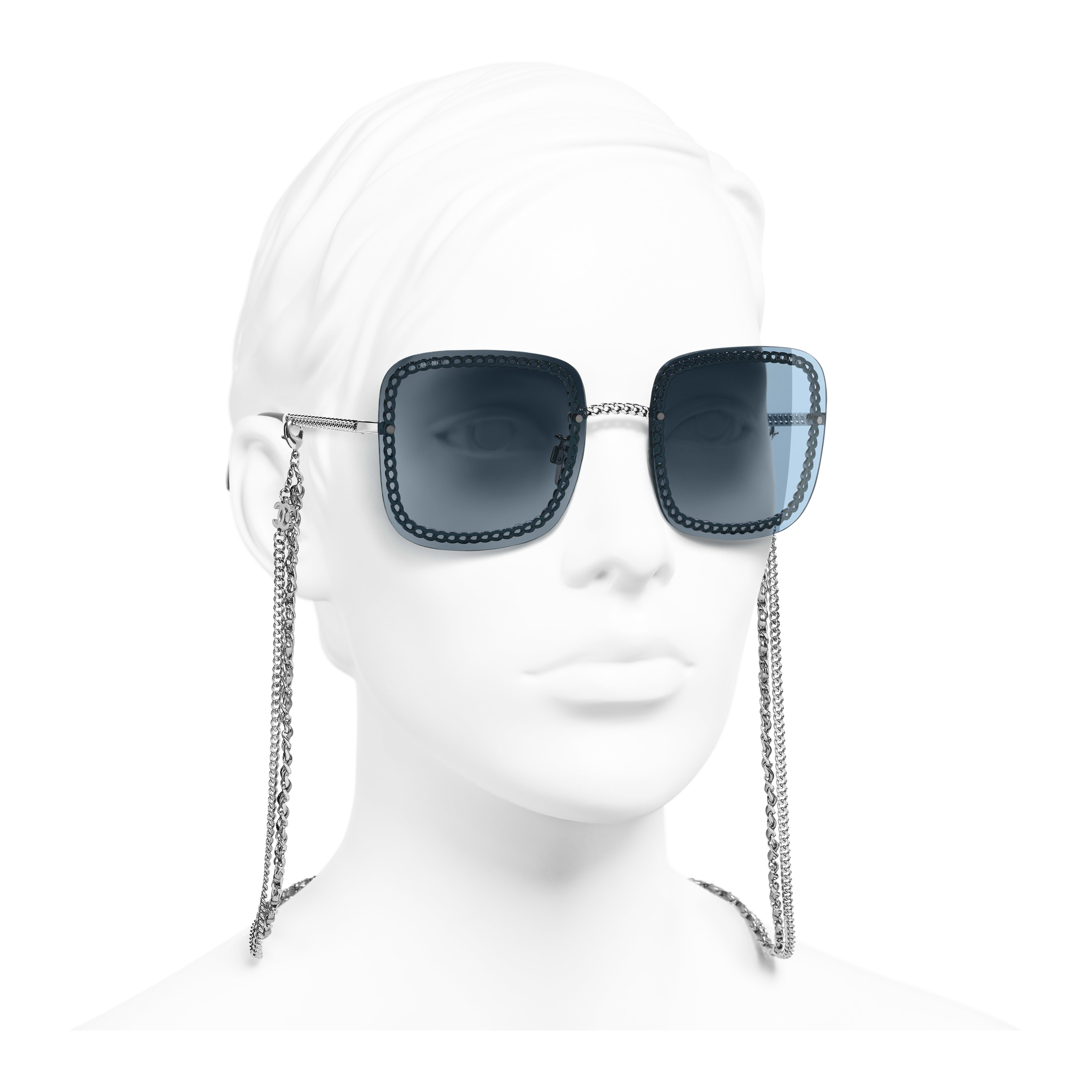 Square Sunglasses - Silver - Metal & Calfskin - Worn 3/4 view - see full sized version
