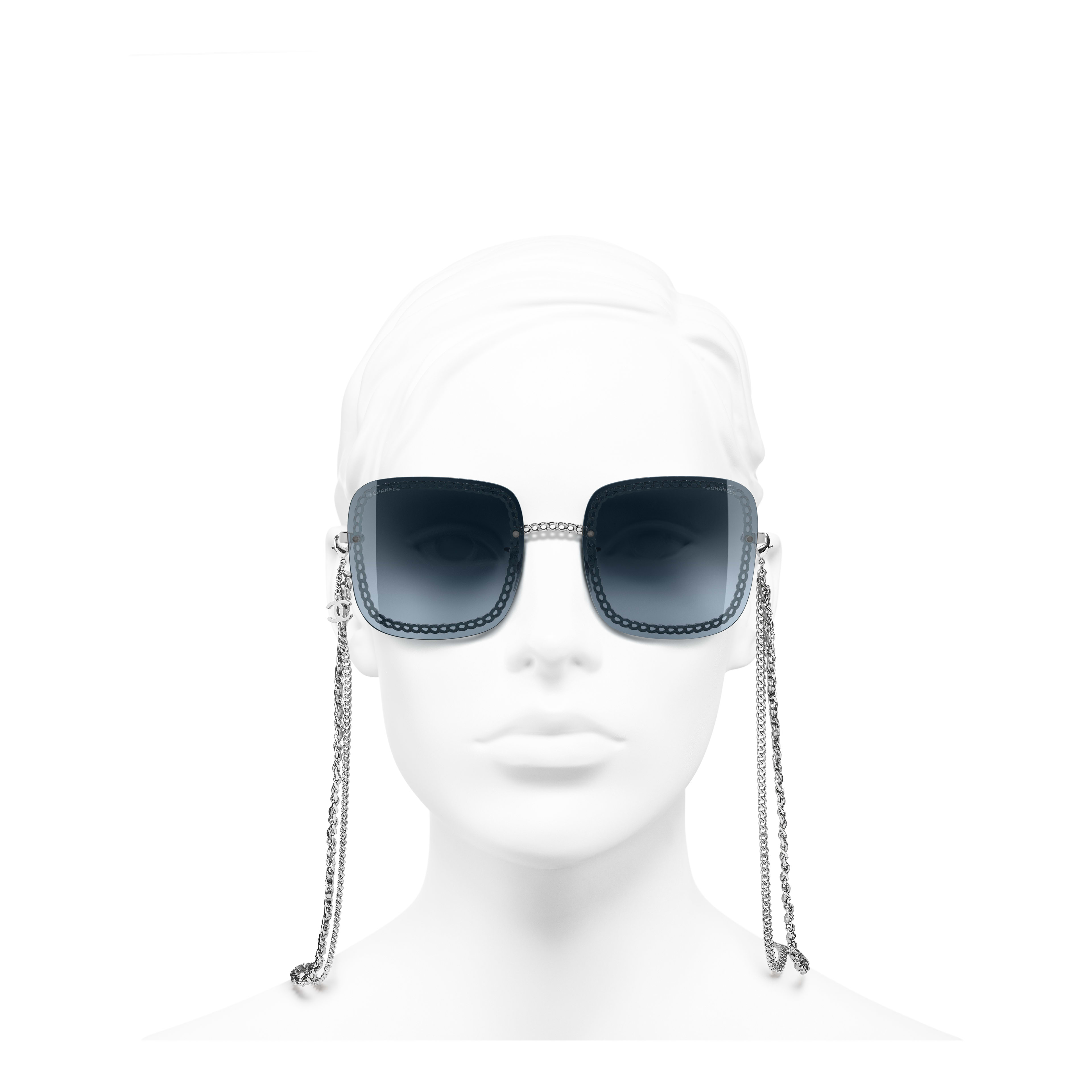 Square Sunglasses - Silver - Metal & Calfskin - Worn front view - see full sized version