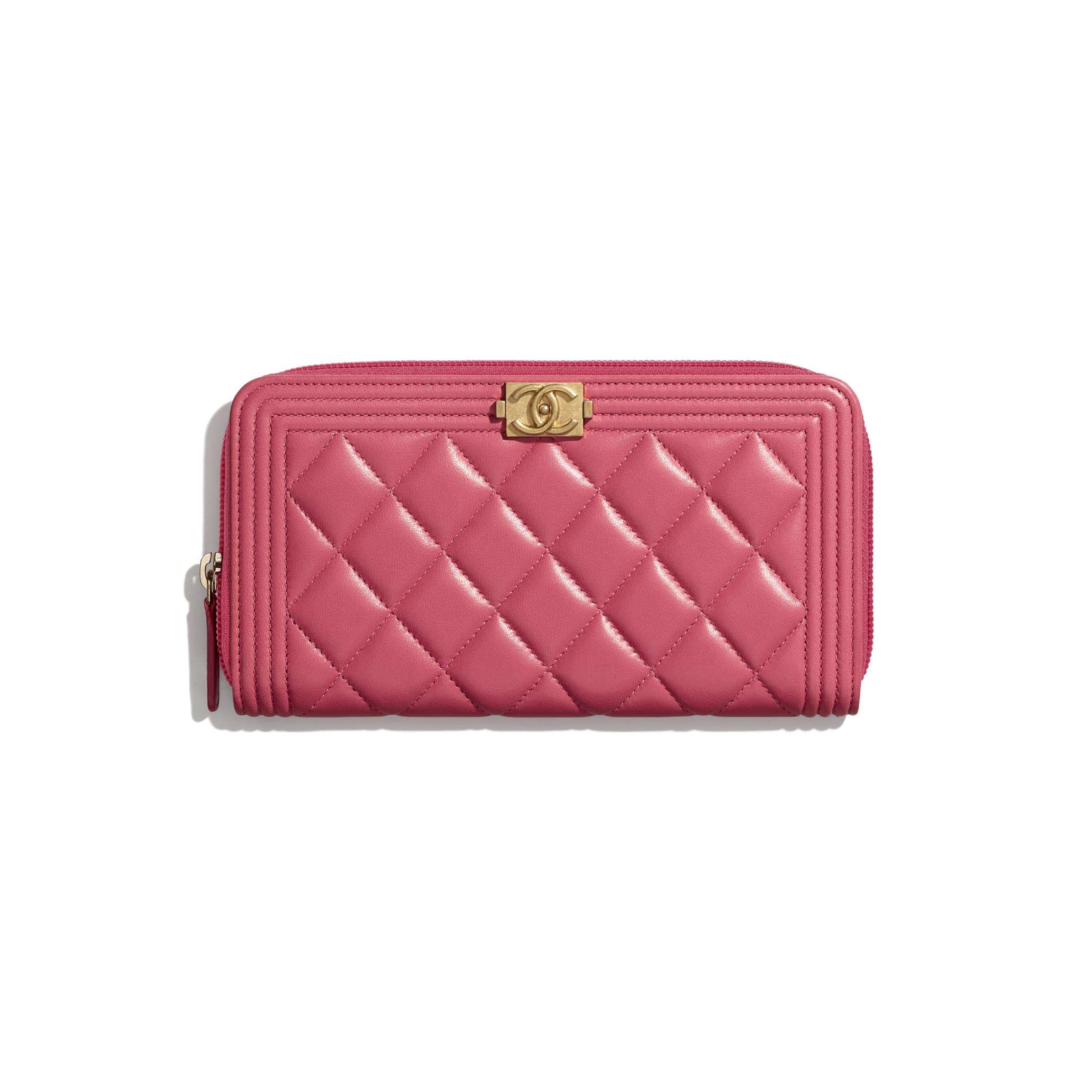 CHANEL BOY CHANEL 拉鏈長銀包 小羊皮及金色金屬 粉紅色 HK$9,000