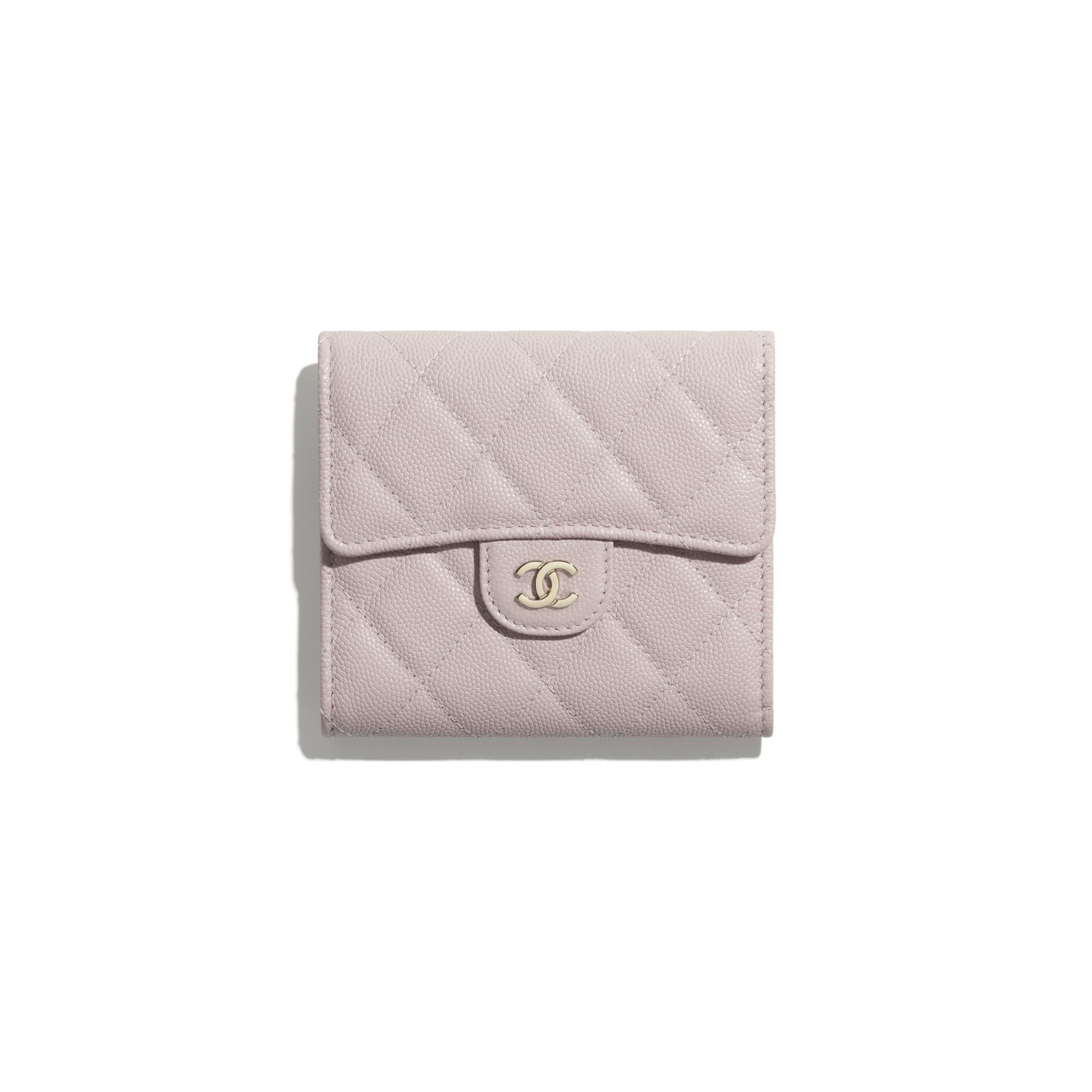 CHANEL 經典款細號垂蓋銀包 粒紋小牛皮及金色金屬 淺粉紅色 HK$6,600