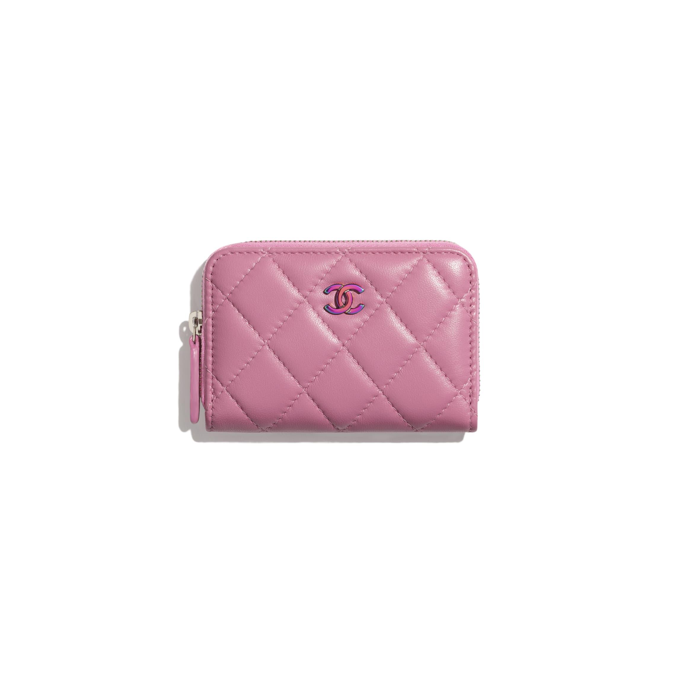 CHANEL  經典拉鏈零錢銀包 小羊皮及幻彩色金屬 粉紅色 HK$4,300