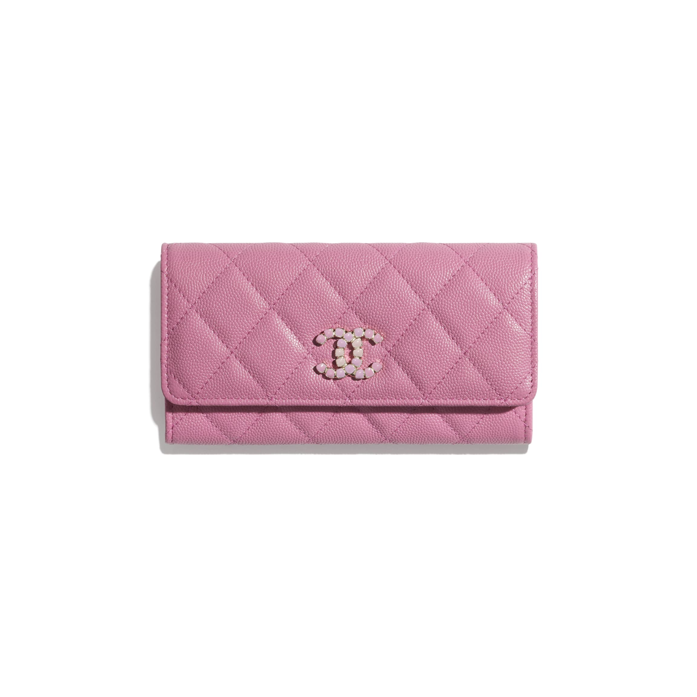 CHANEL 垂蓋銀包 粒紋小牛皮及漆面金色金屬 粉紅色 HK$7,900