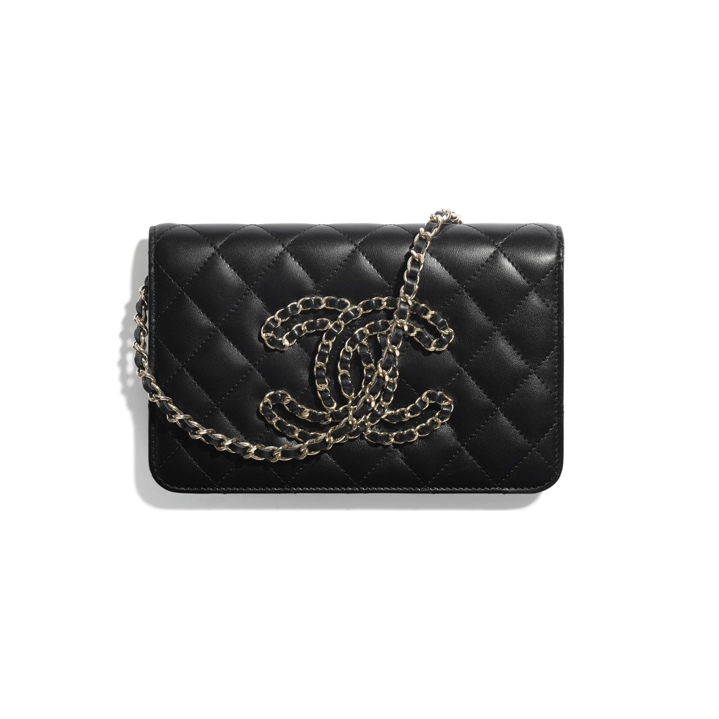 Wallet On Chain - Black - Lambskin - CHANEL - Default view - see full sized version