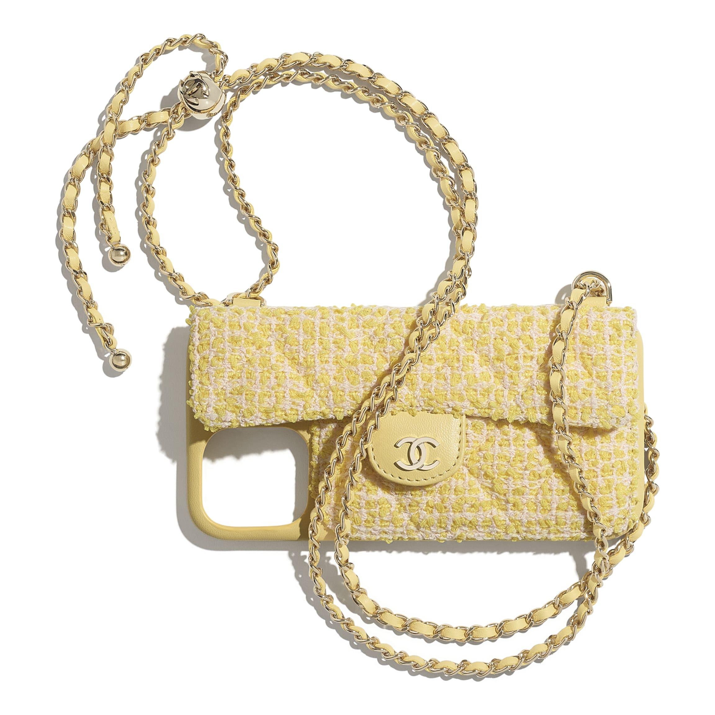 Custodia per iPhone XII Pro MAX classica con catena, Tweed & metallo effetto dorato   CHANEL