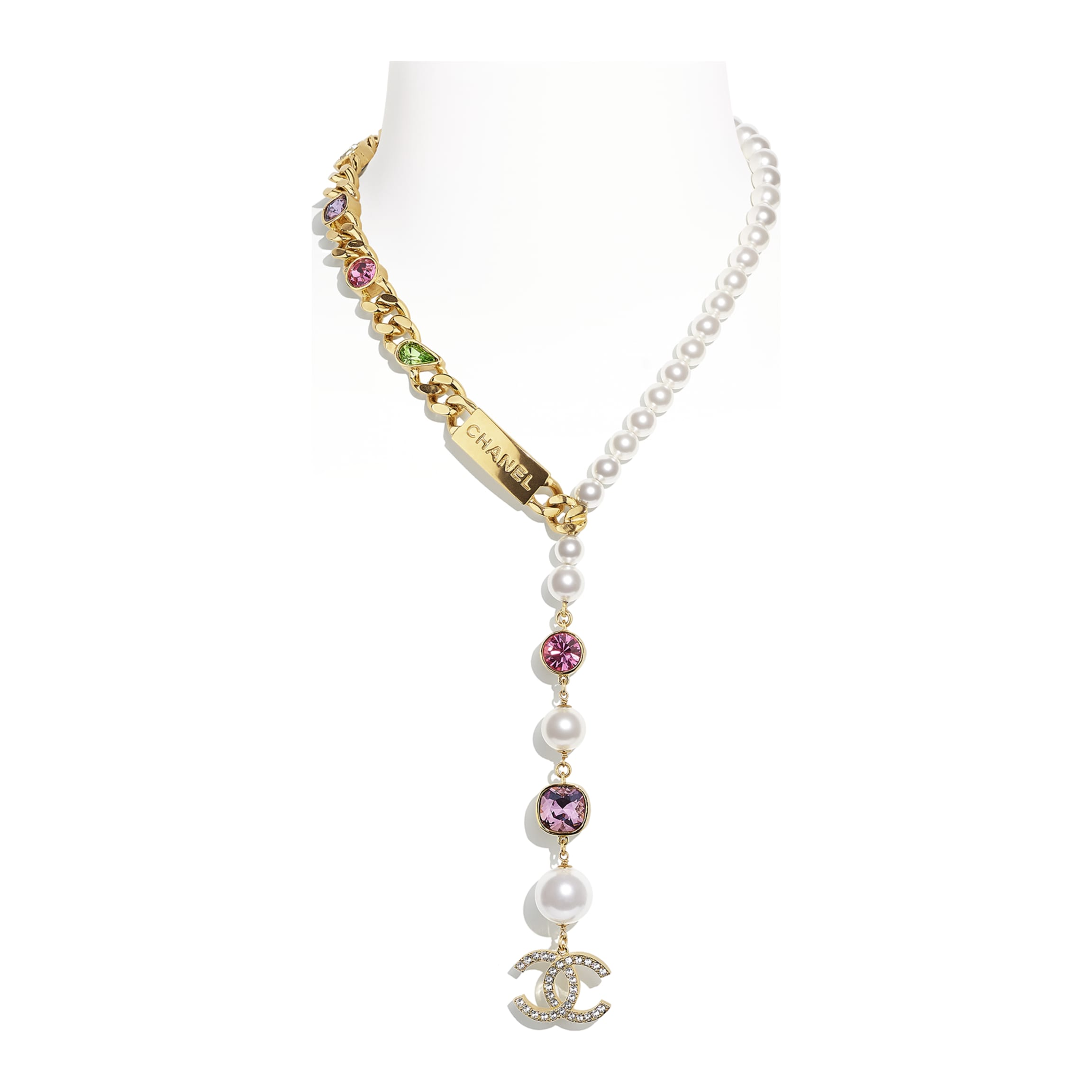 20 inch Necklace extends to 23 inches 1.5/'/' focal 3/'/' chain extender JB062 Dichroic Glass Necklace w Gold Blue Pearls Ribbed Gold Spacers