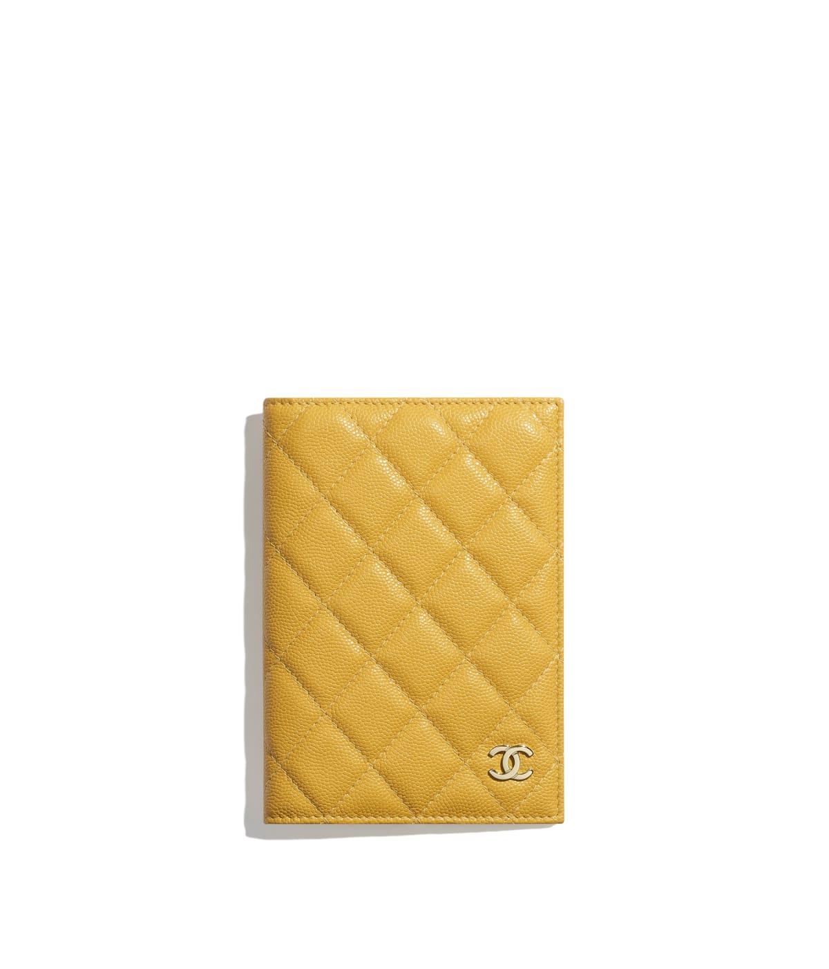 3bb44ab37eb4 Classic Passport Holder, grained calfskin & gold-tone metal, yellow - CHANEL