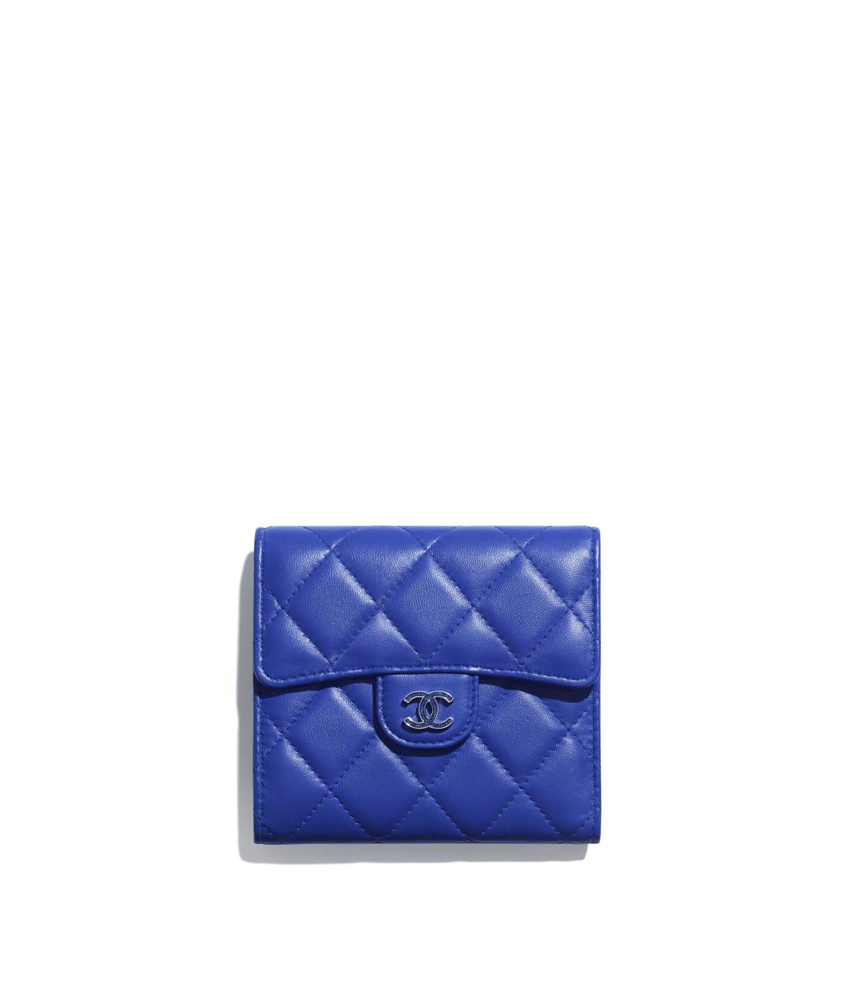 9f05e5c0fa444b Classic Small Flap Wallet, lambskin & lacquered silver-tone metal, dark  blue - CHANEL