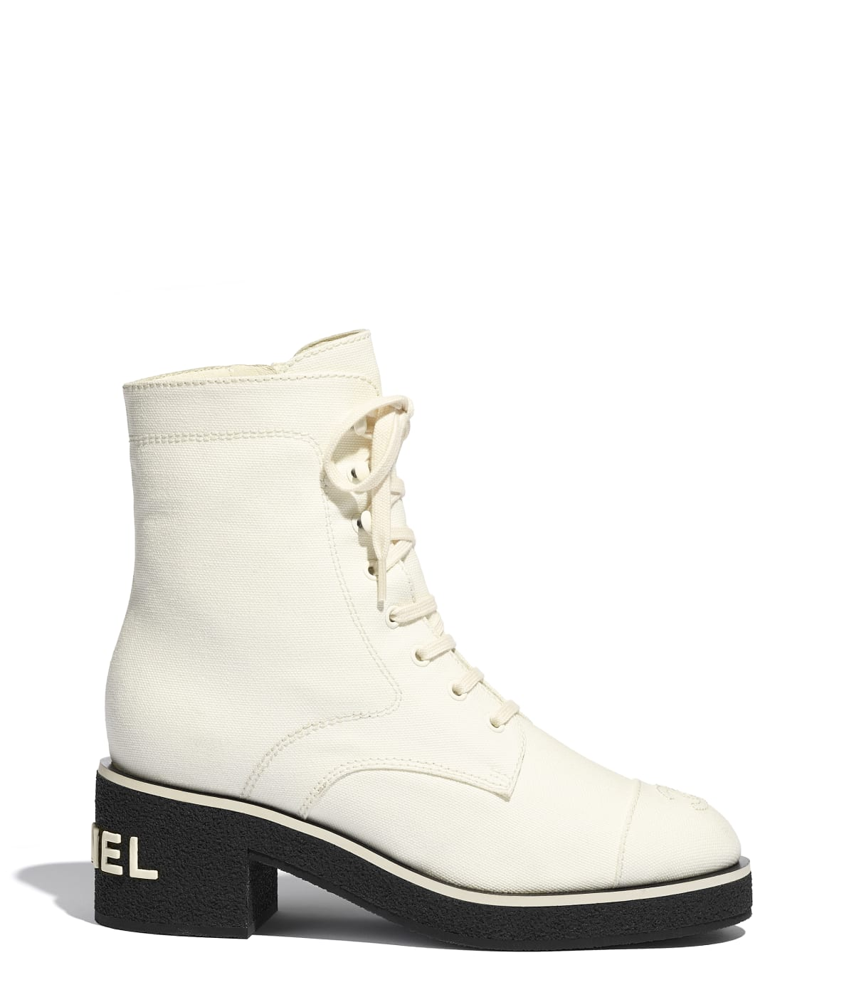 Lace-Ups, fabric, white - CHANEL