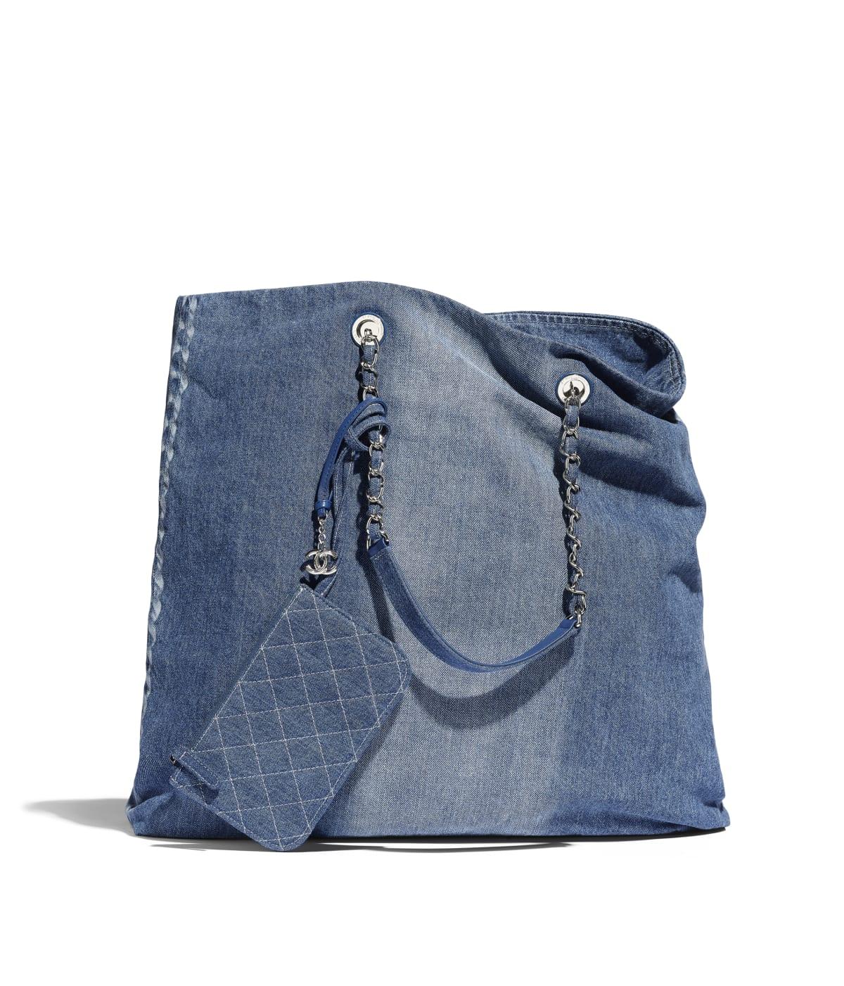 f4c597a1873 Large Shopping Bag, printed denim & silver-tone metal, blue - CHANEL