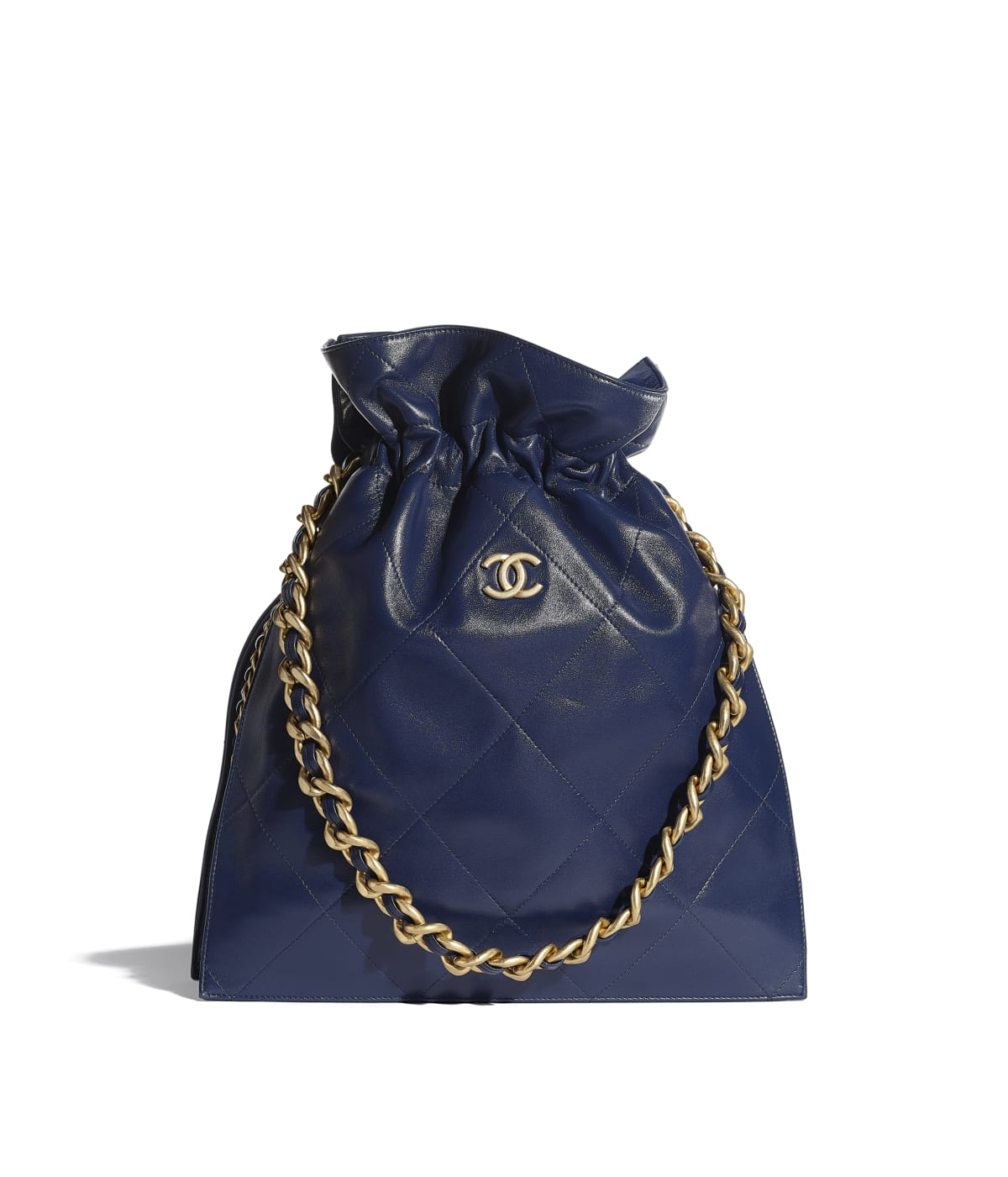 Large Tote Shiny Lambskin Gold Tone Metal Navy Blue Chanel
