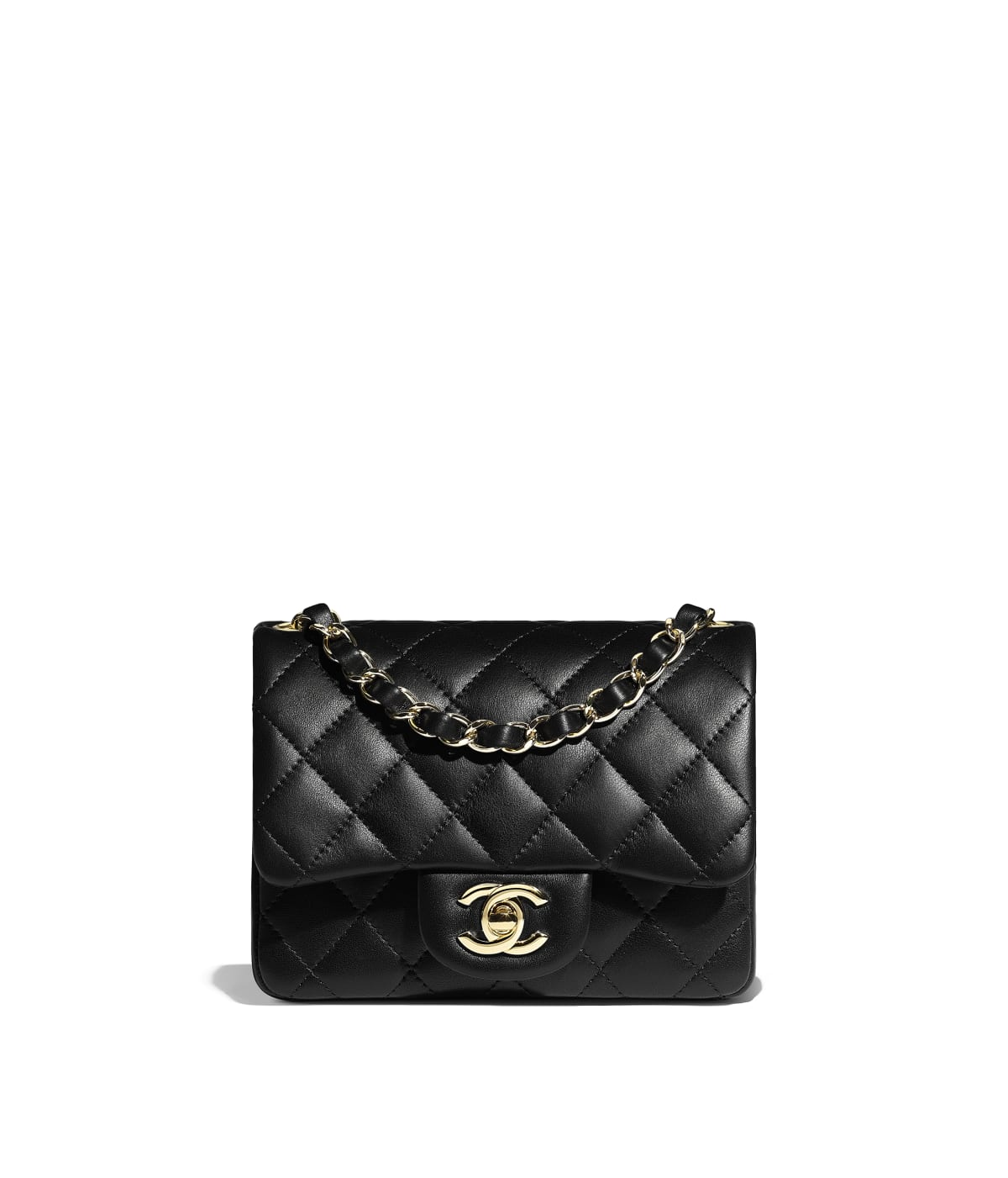 24adfd1521b0 Mini Flap Bag, lambskin, black - CHANEL
