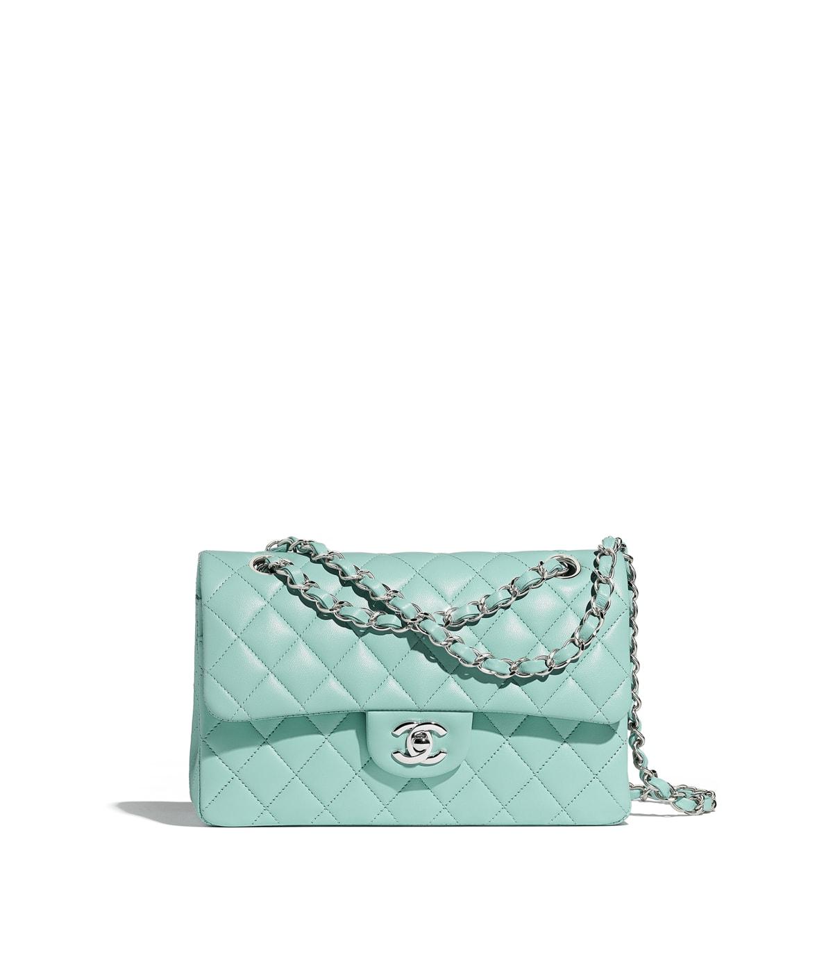 124b3fb7437a0f Small Classic Handbag, lambskin, light blue - CHANEL