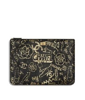 3ac1bf884 Case 2.55 Grande, couro com estampa de crocodilo & metal dourado, preto &  dourado - CHANEL