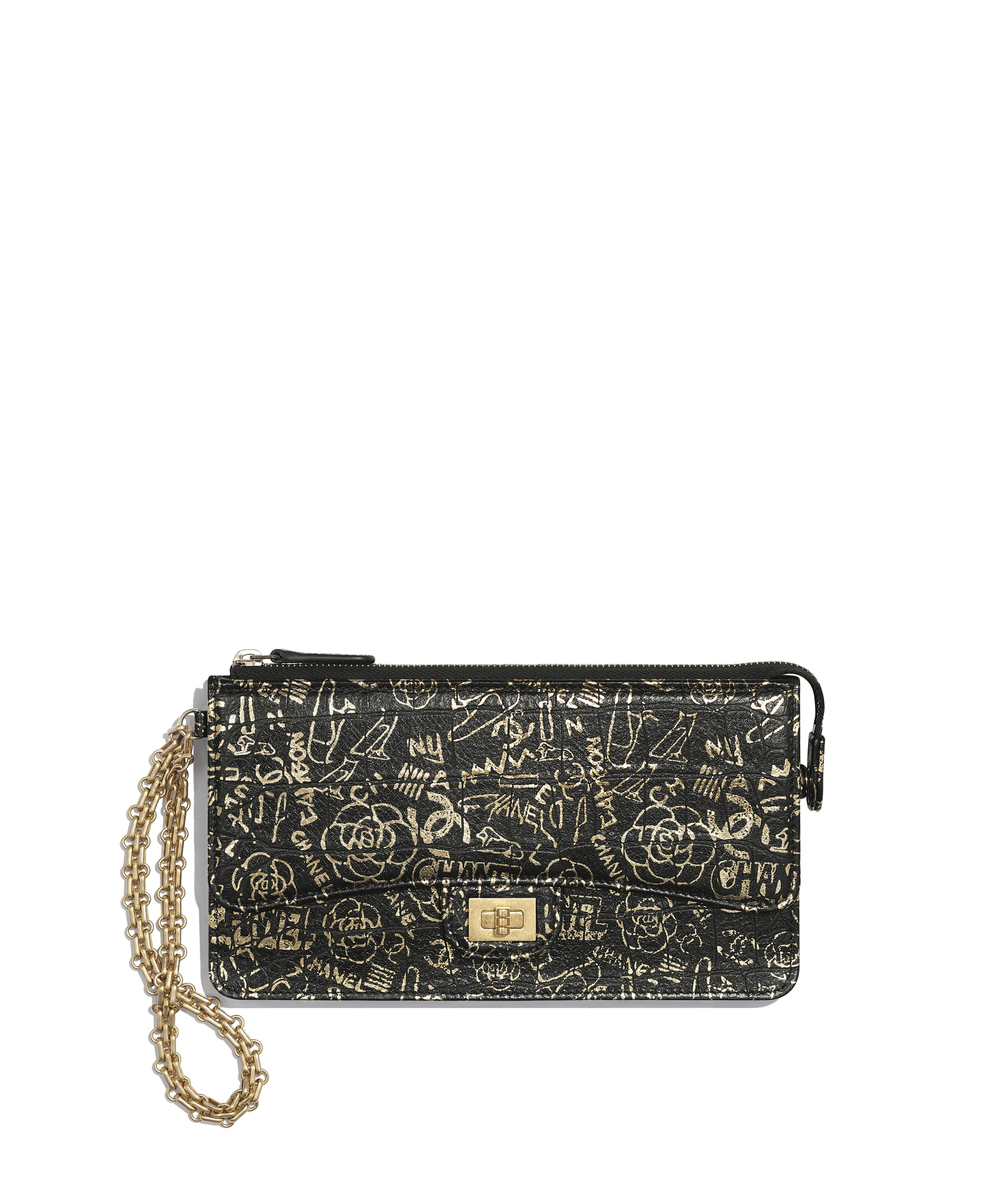 b811045a3700 2.55 Pouch With Handle, crocodile embossed printed leather & gold ...