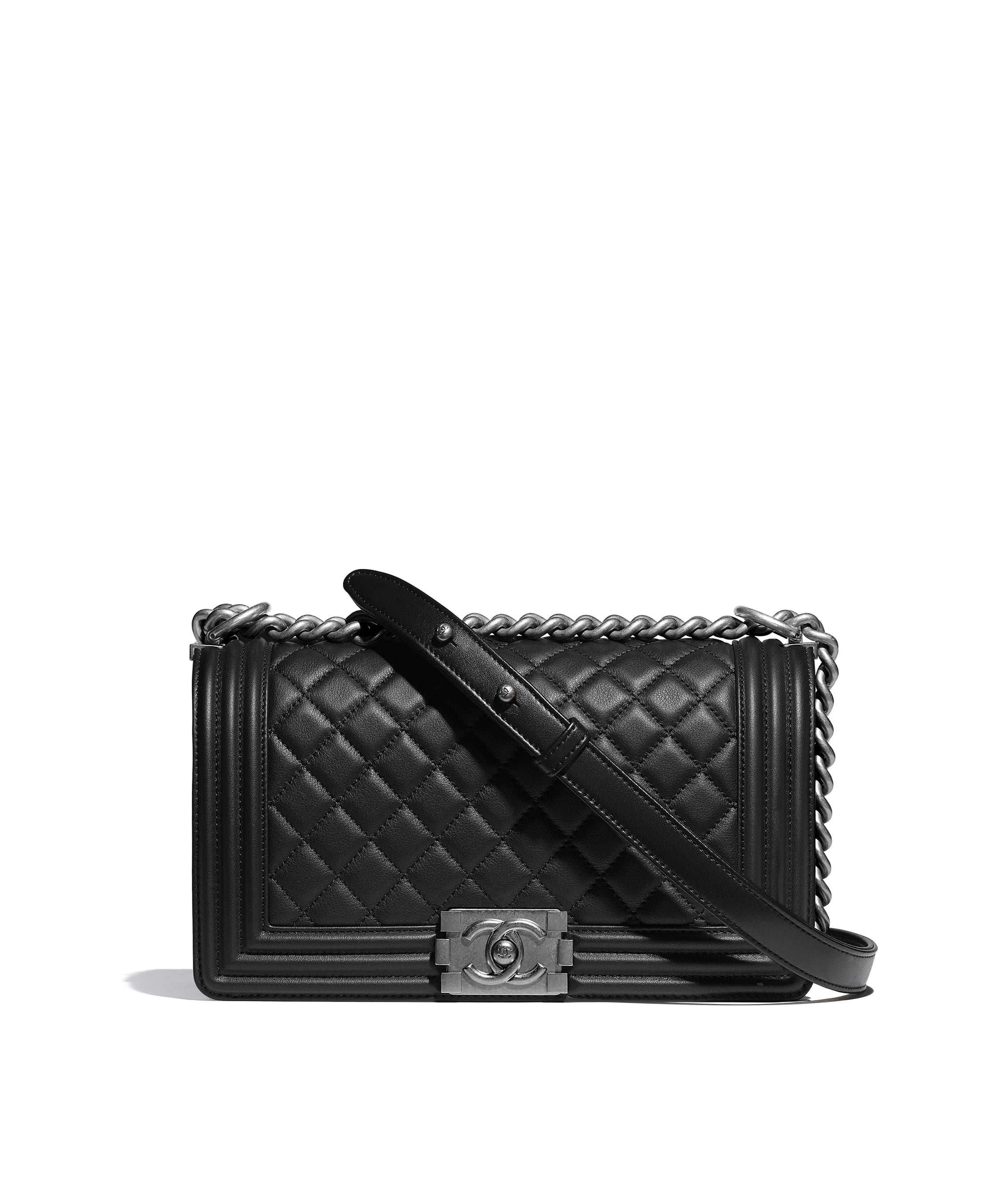 c1e80958b54c BOY CHANEL Handbag, calfskin & ruthenium-finish metal, black - CHANEL