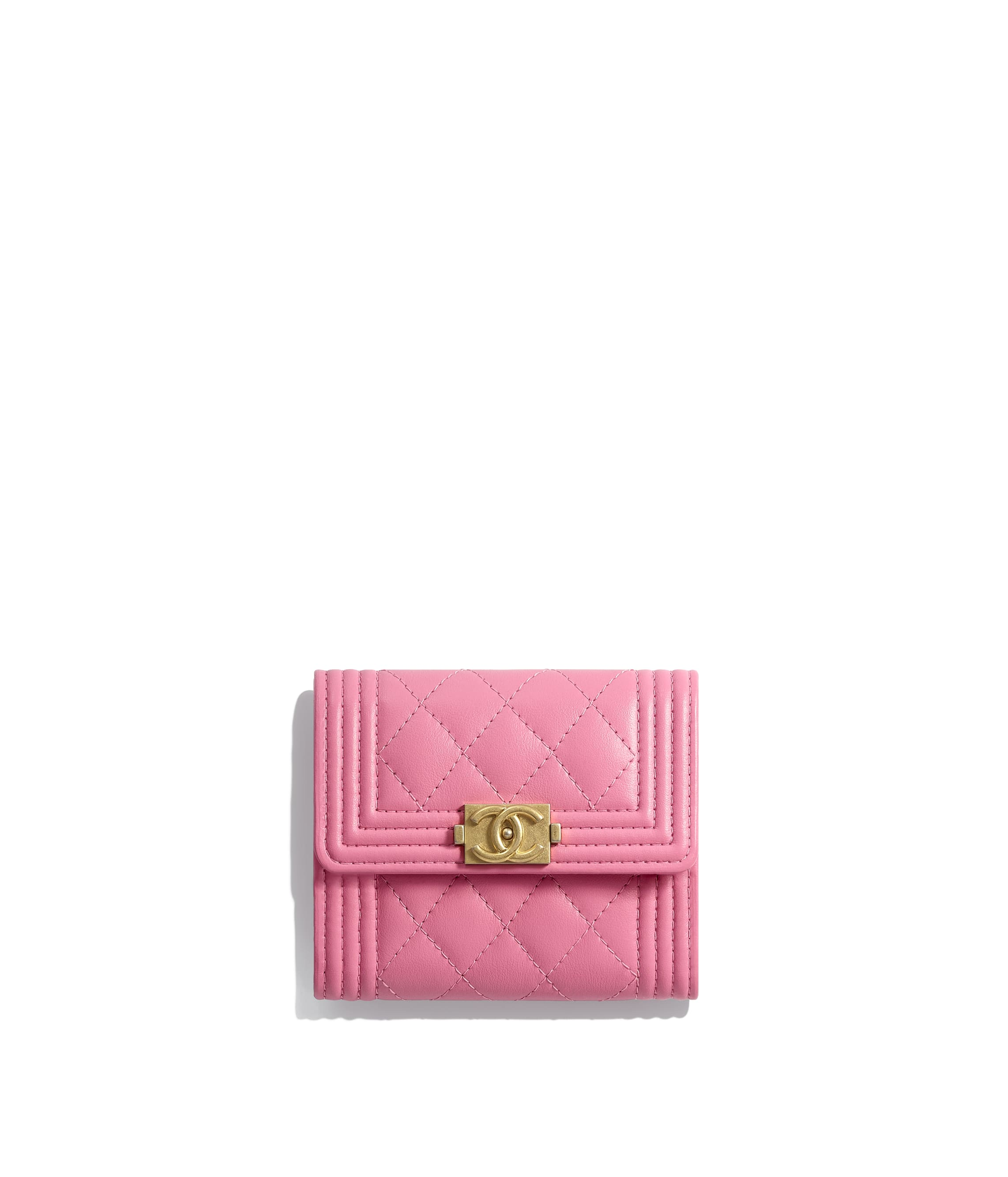 f5fc552b4b2e3 Boy Chanel Small Flap Wallet Calfskin Gold Tone Metal Pink