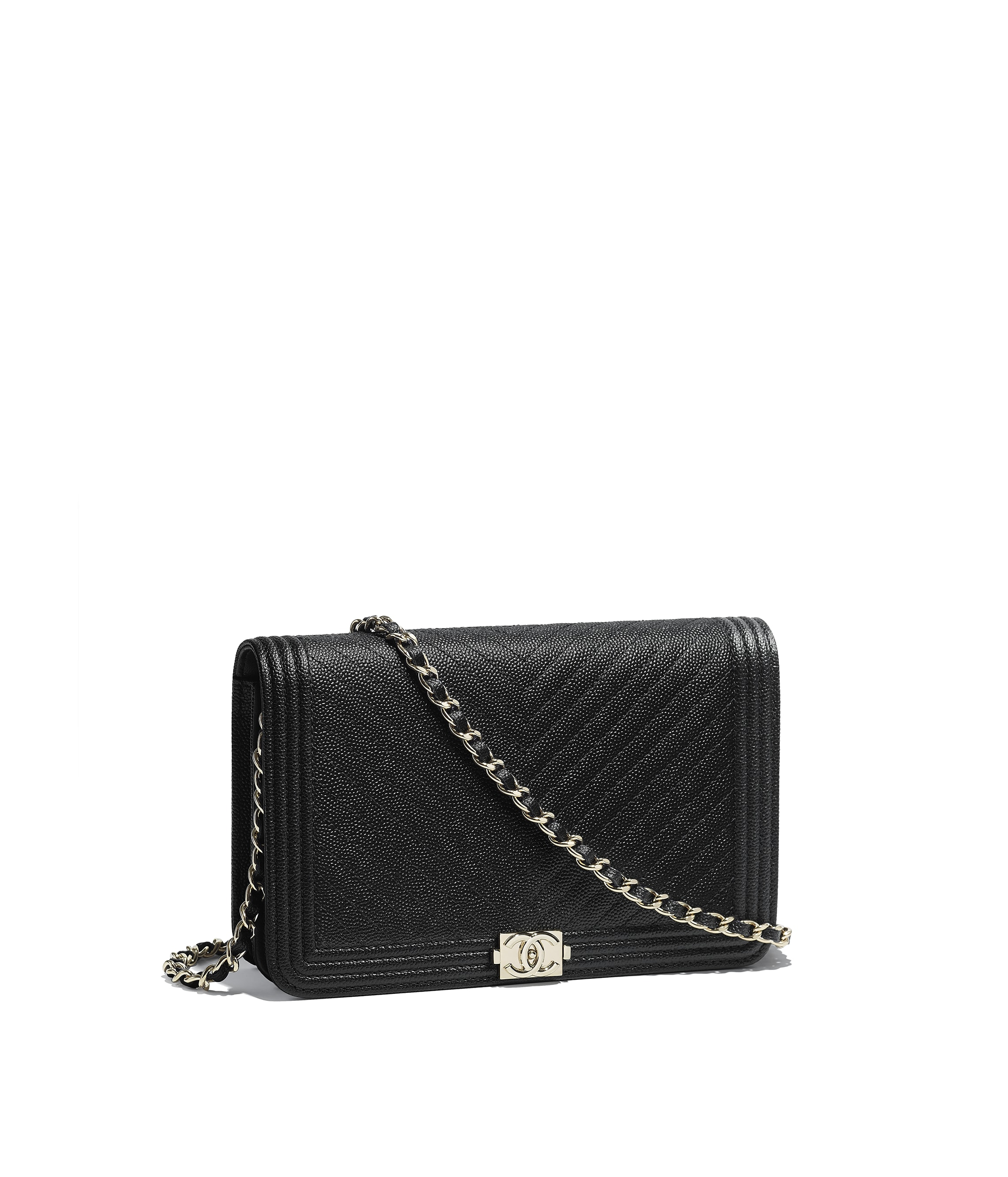 ab843c9388ce Chanel Classic Wallet On Chain Grained Lambskin. Lambskin & Gold-Tone Metal  Black BOY ...