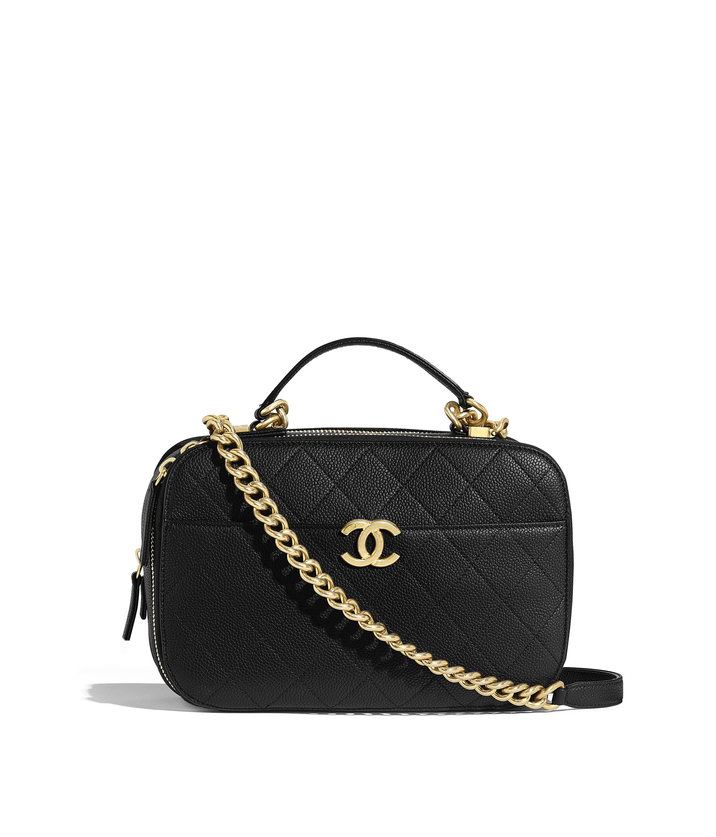 d63ae727bfb87a Camera Case, grained calfskin & gold-tone metal, black - CHANEL