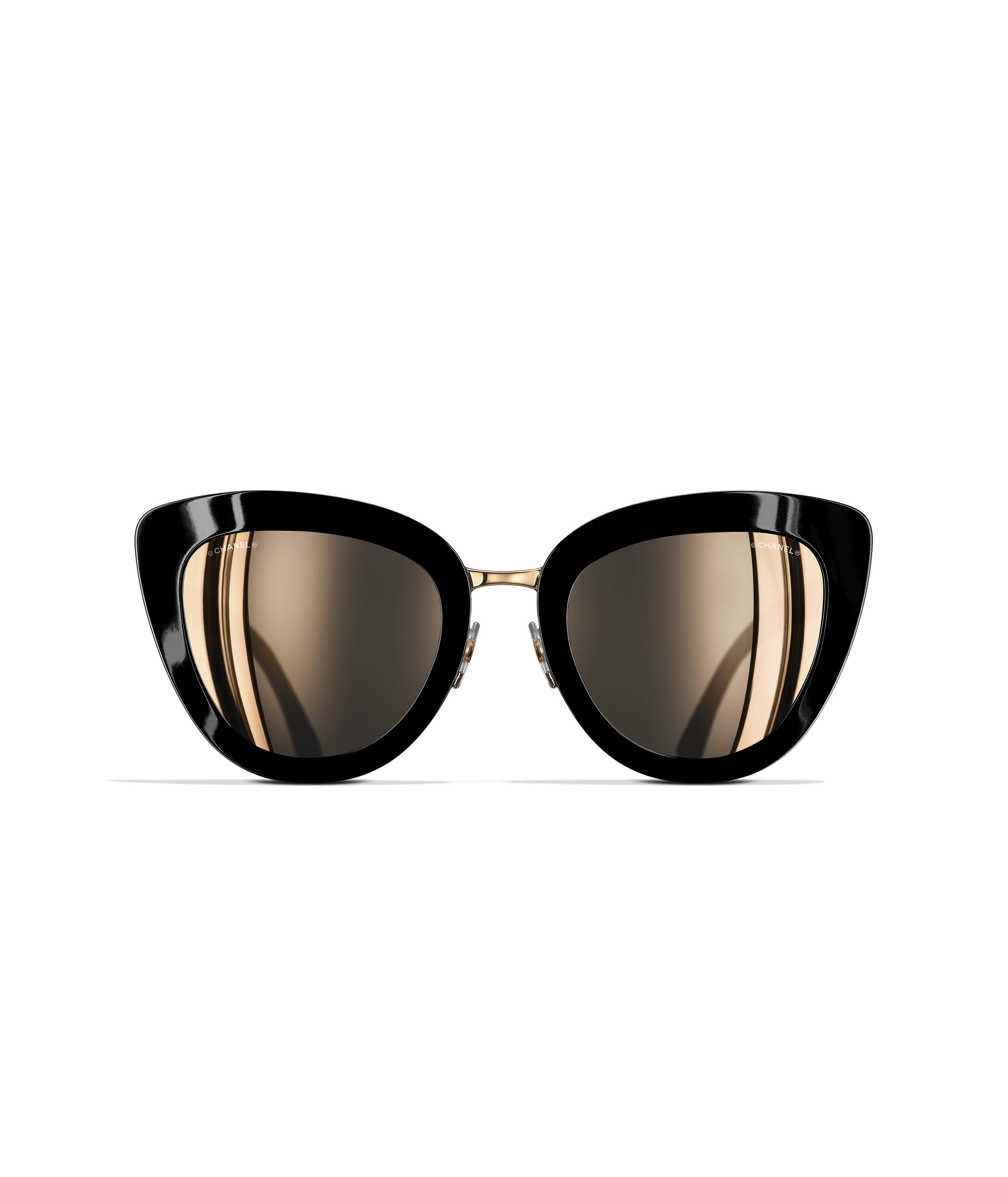 Katzenaugenförmige Sonnenbrille, azetat & metall, schwarz - CHANEL