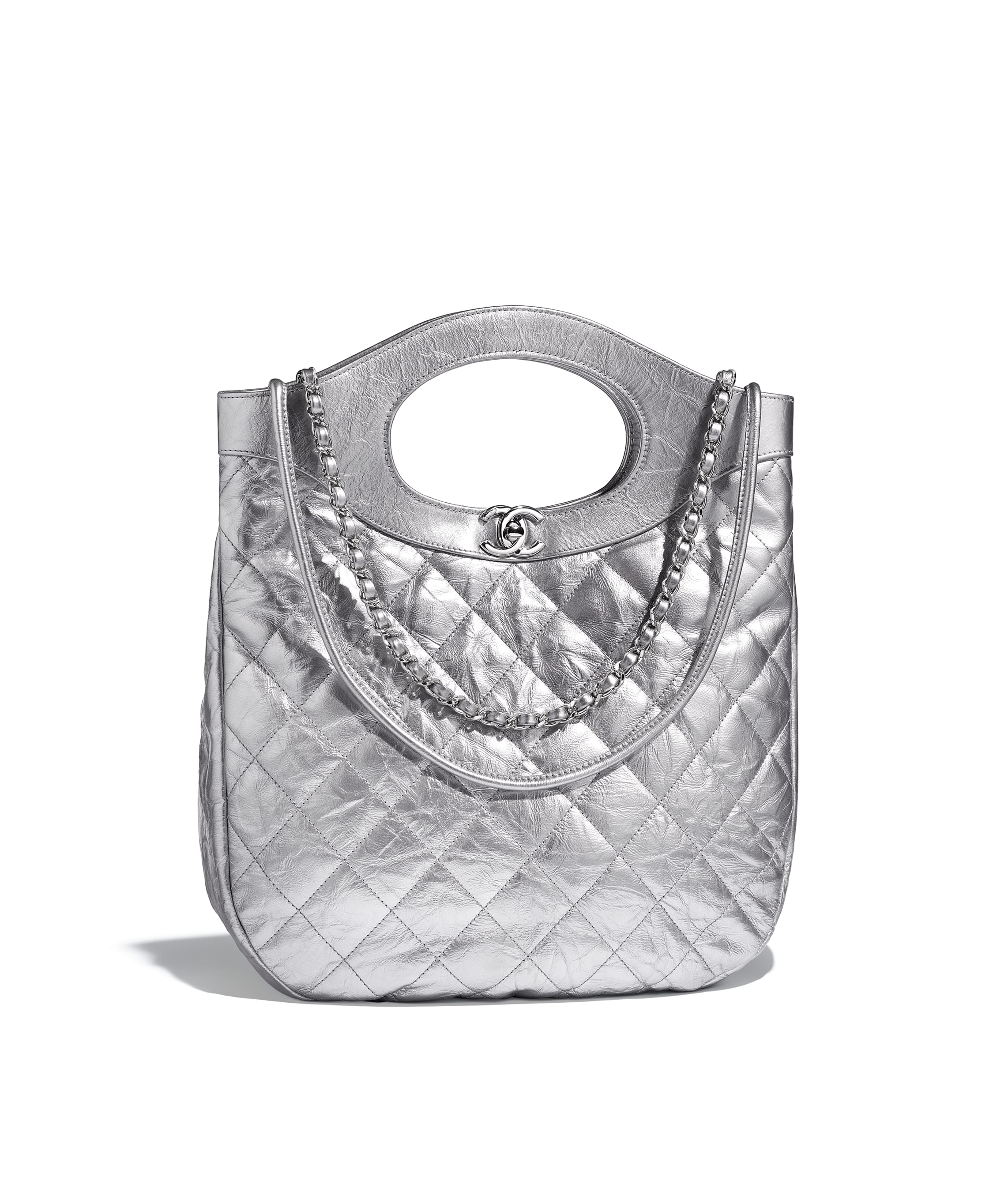 f57fae2ce351 CHANEL 31 Small Shopping Bag, metallic crumpled calfskin & silver ...