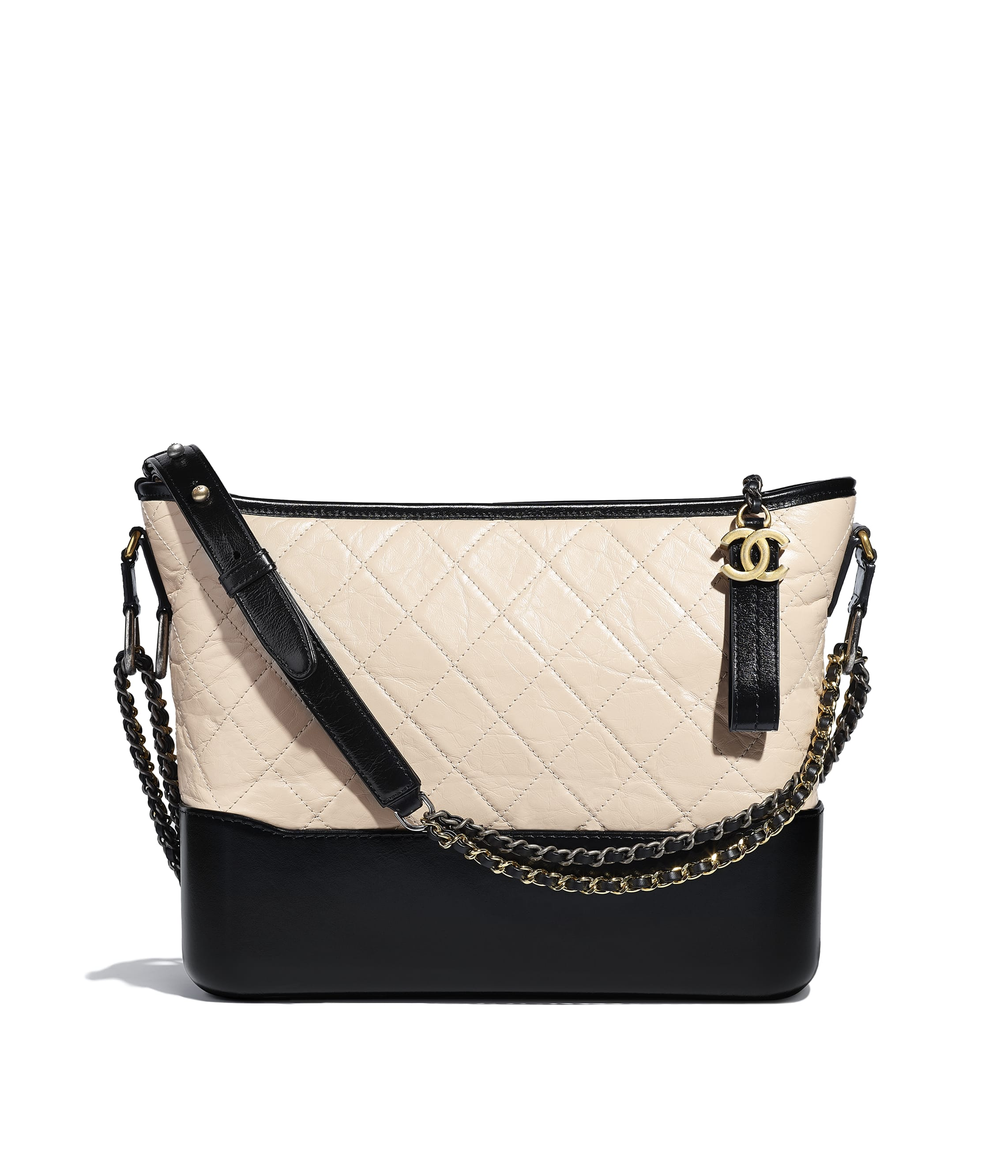 626c08cdc30b CHANEL'S GABRIELLE Hobo Bag. Aged Calfskin, Smooth Calfskin, Silver-Tone &  Gold-Tone Metal. Beige & Black