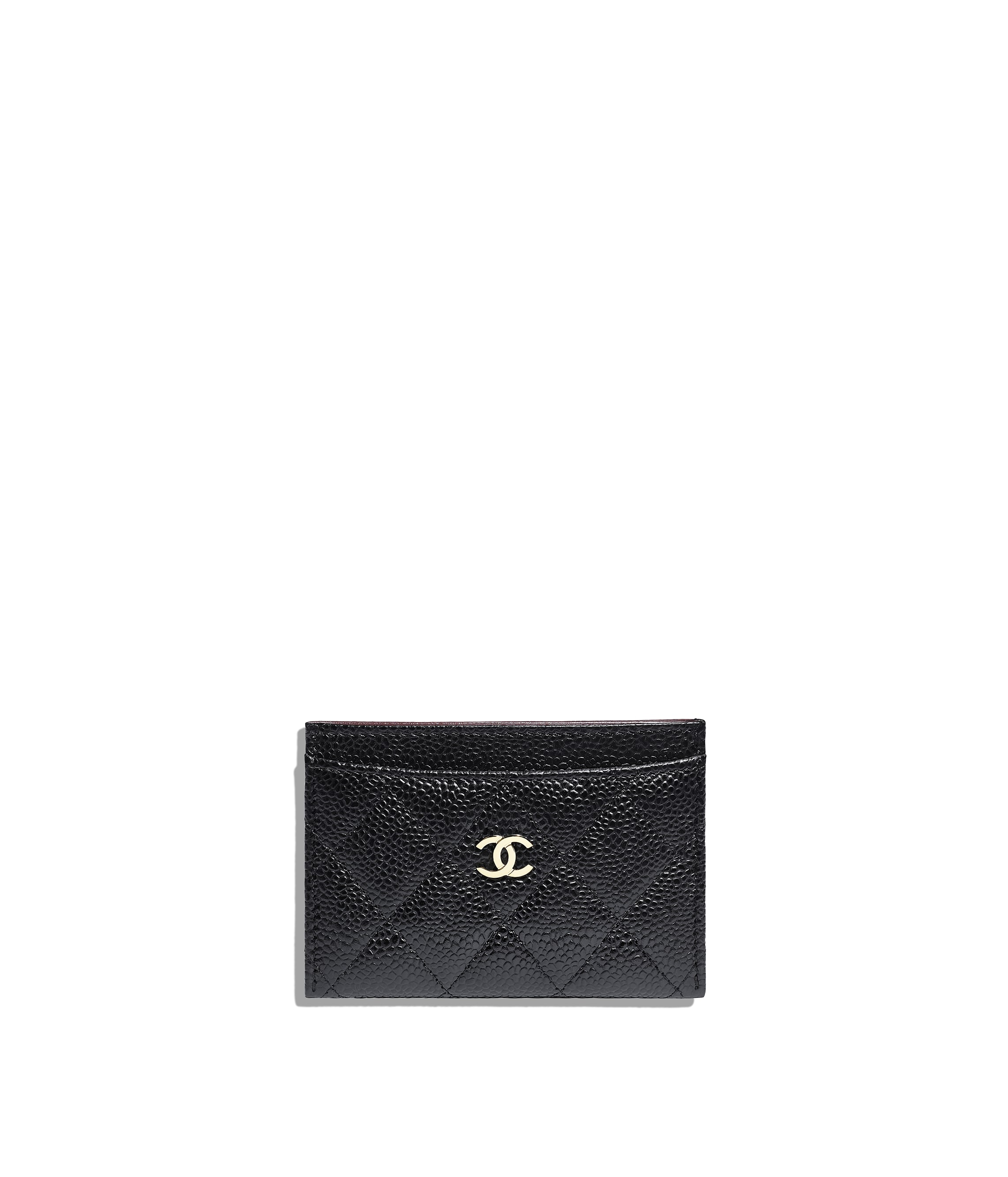 4cb7933880f9 Classic Card Holder, grained calfskin & gold-tone metal, black - CHANEL