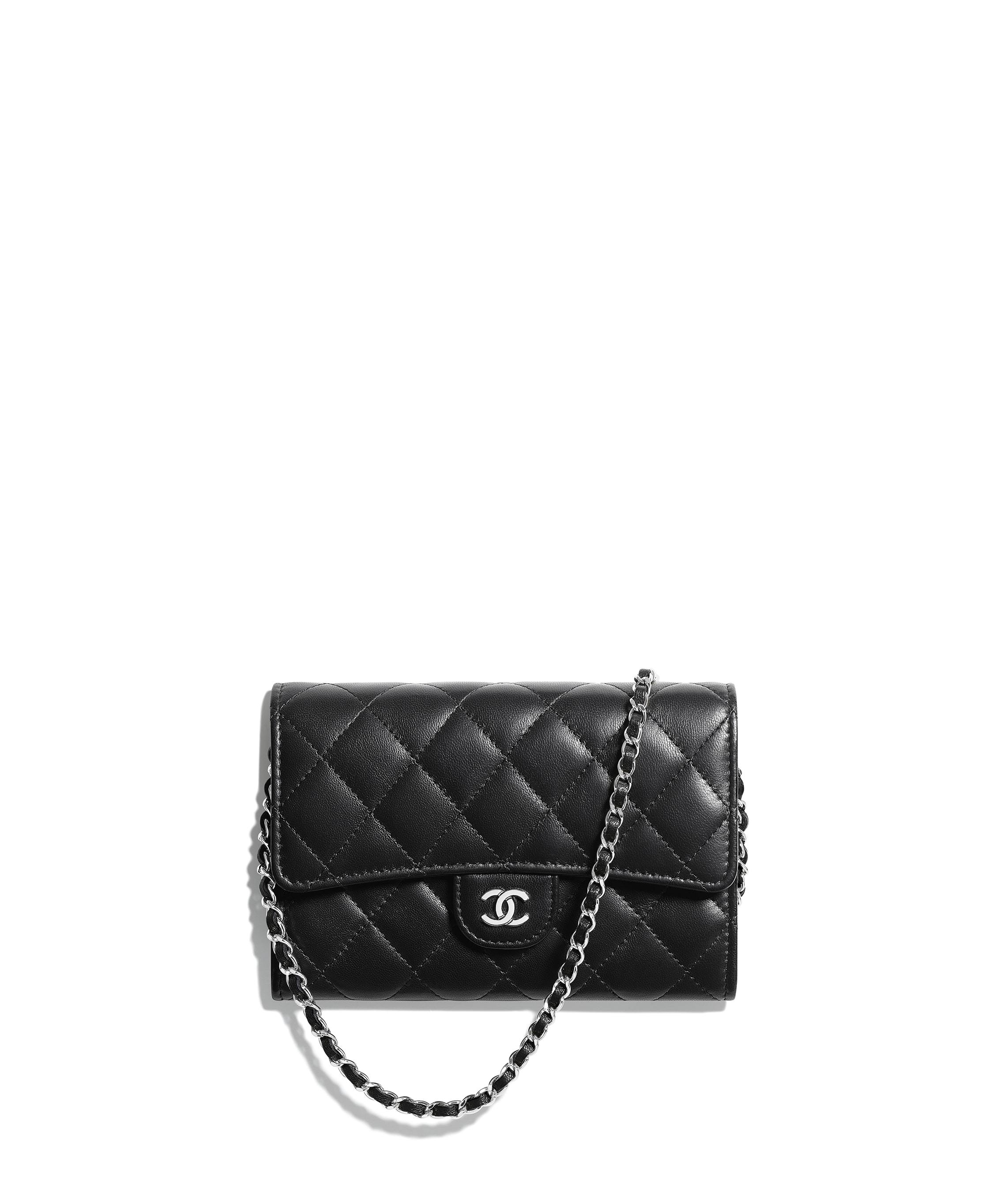 buy cheap noveldesign exquisite craftsmanship Classic Clutch With Chain, lambskin, black - CHANEL