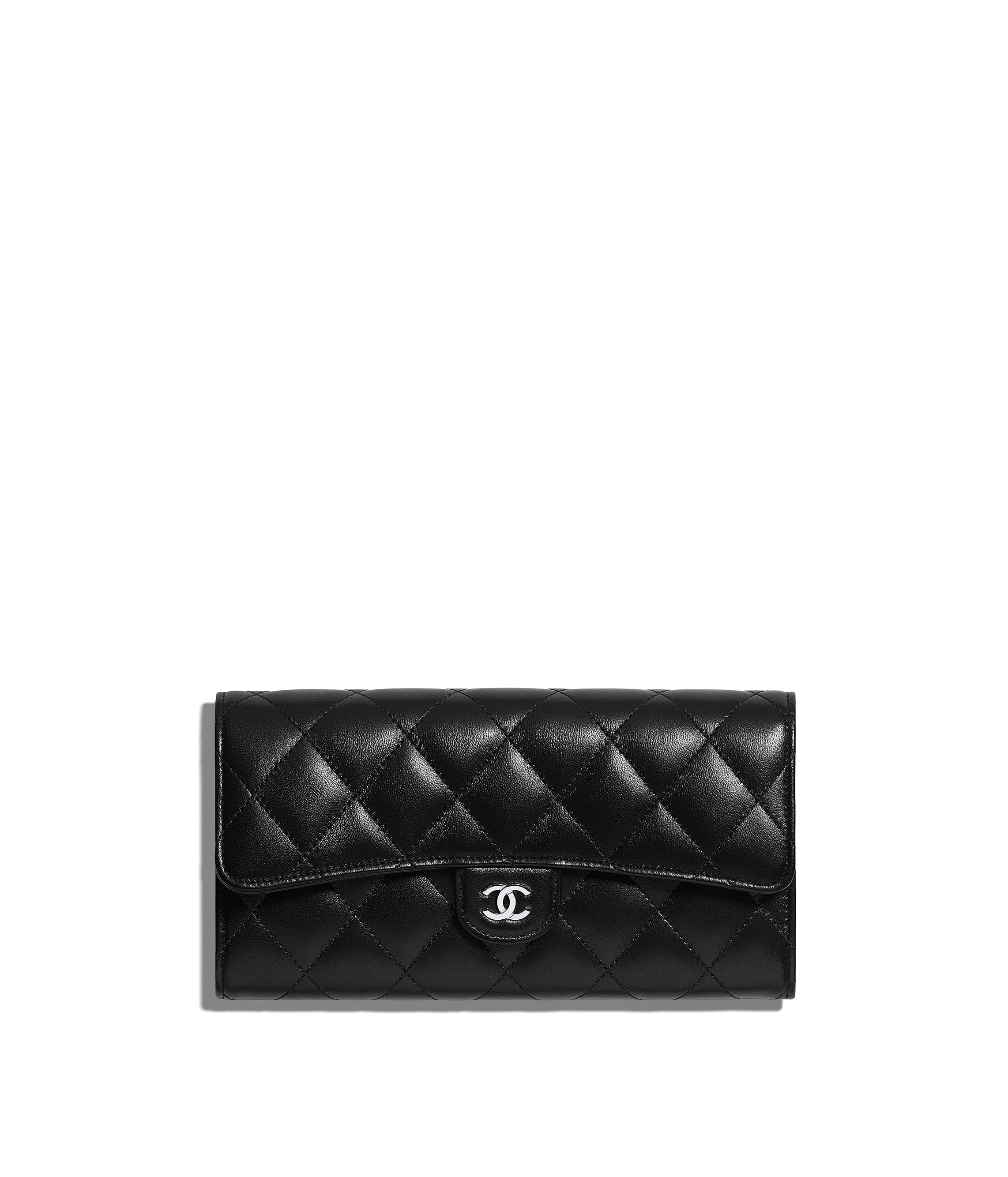 3ea438e2e60dfe Classic Long Flap Wallet, lambskin & silver-tone metal, black - CHANEL