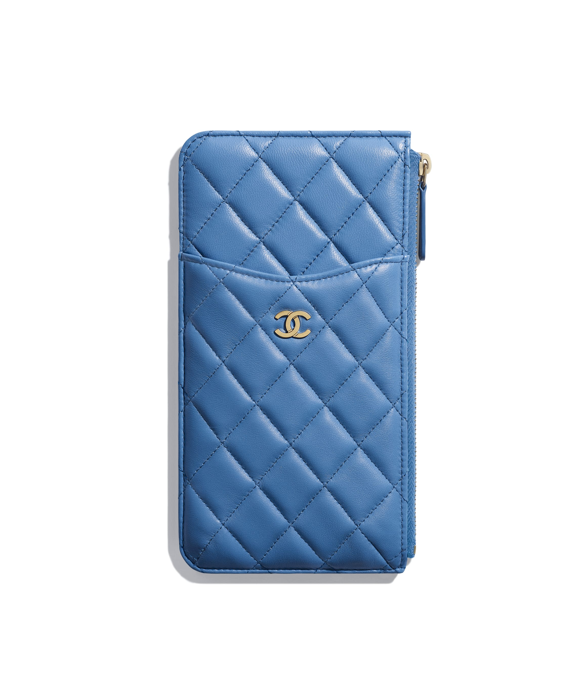 8a0adb499aceec Classic Pouch for iPhone, lambskin, blue - CHANEL