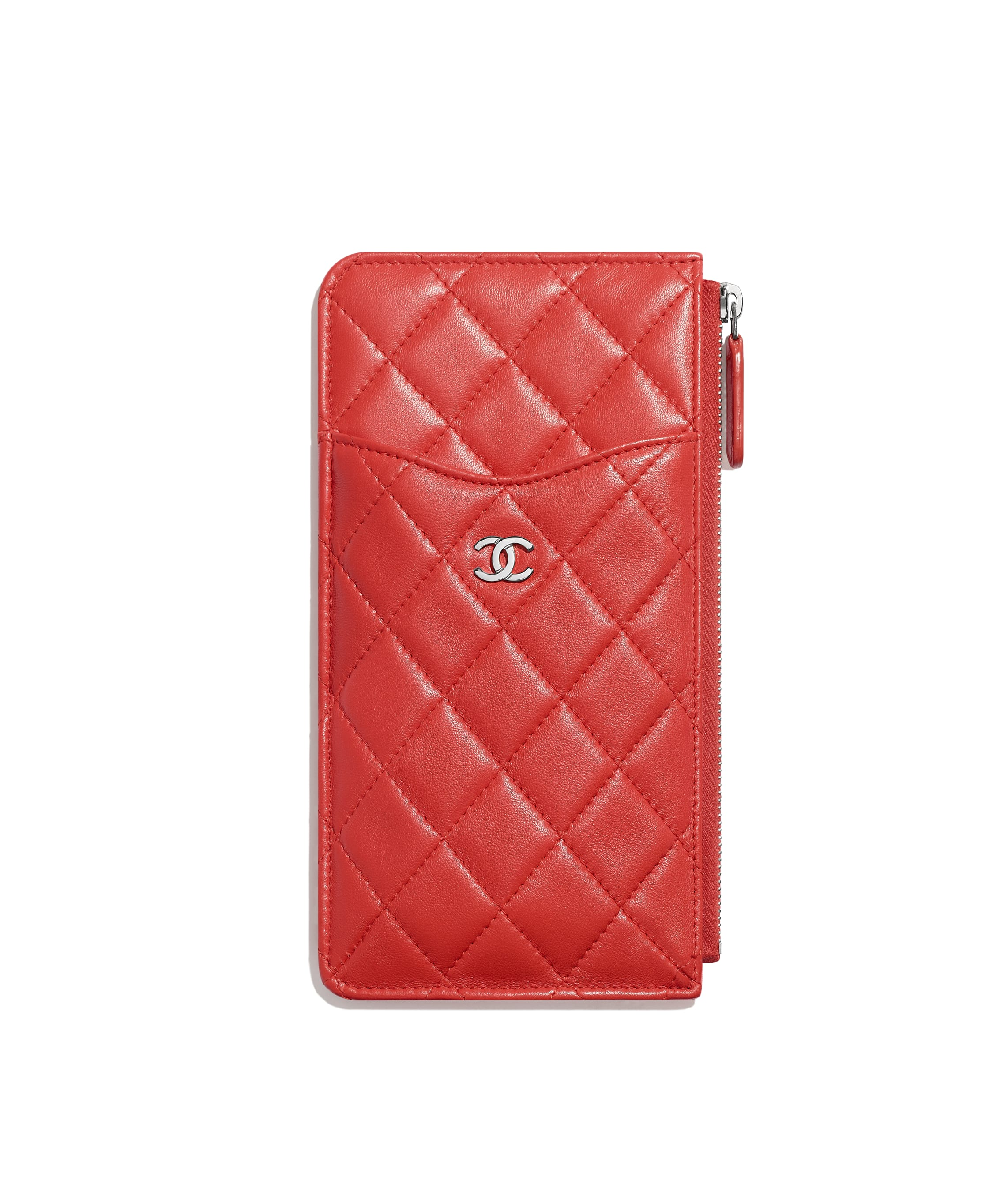 43e3bcfe3e6a2d Classic Pouch for iPhone, lambskin & silver-tone metal, red - CHANEL