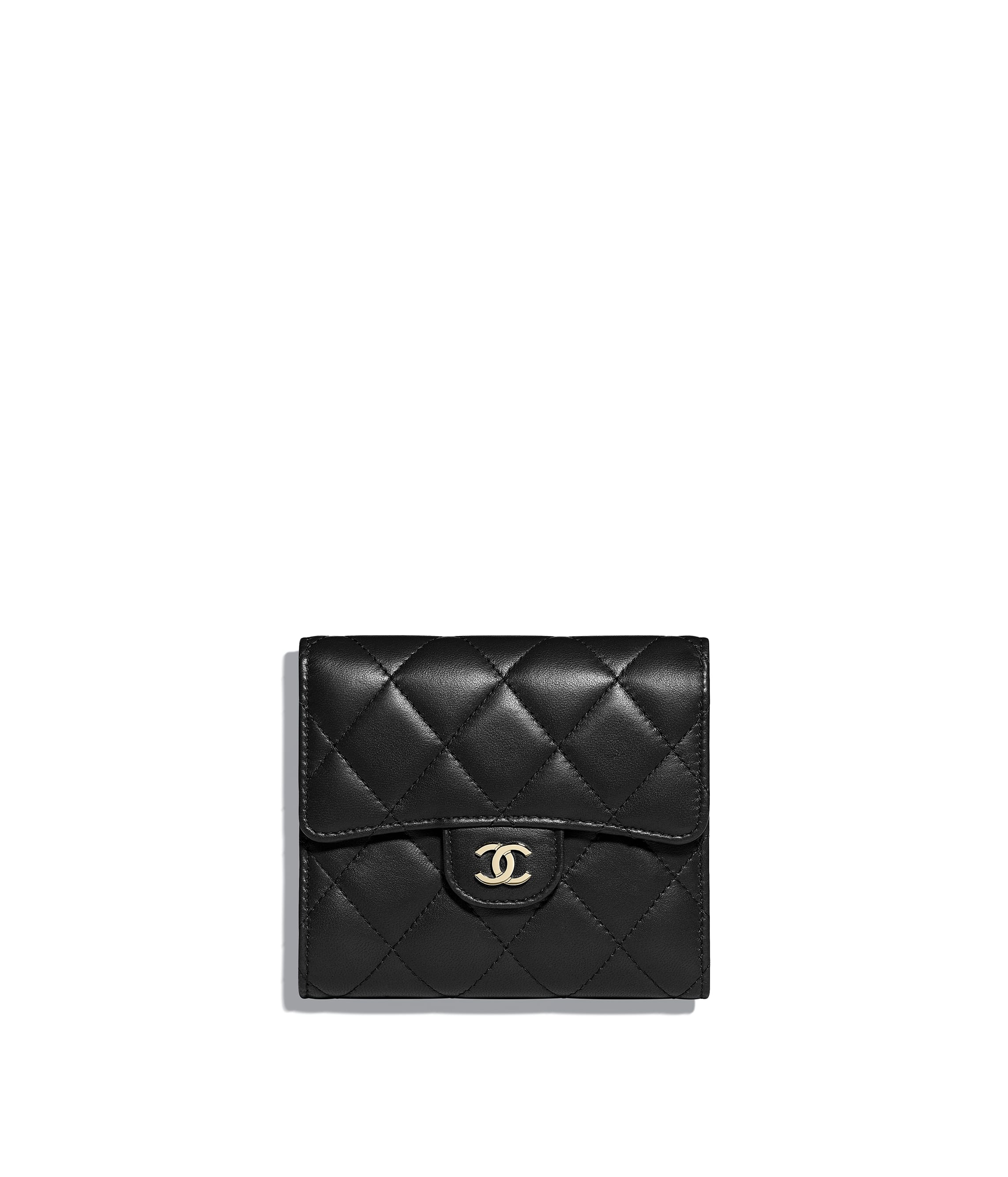 bad800148a2199 Classic Small Flap Wallet, lambskin & gold-tone metal, black - CHANEL