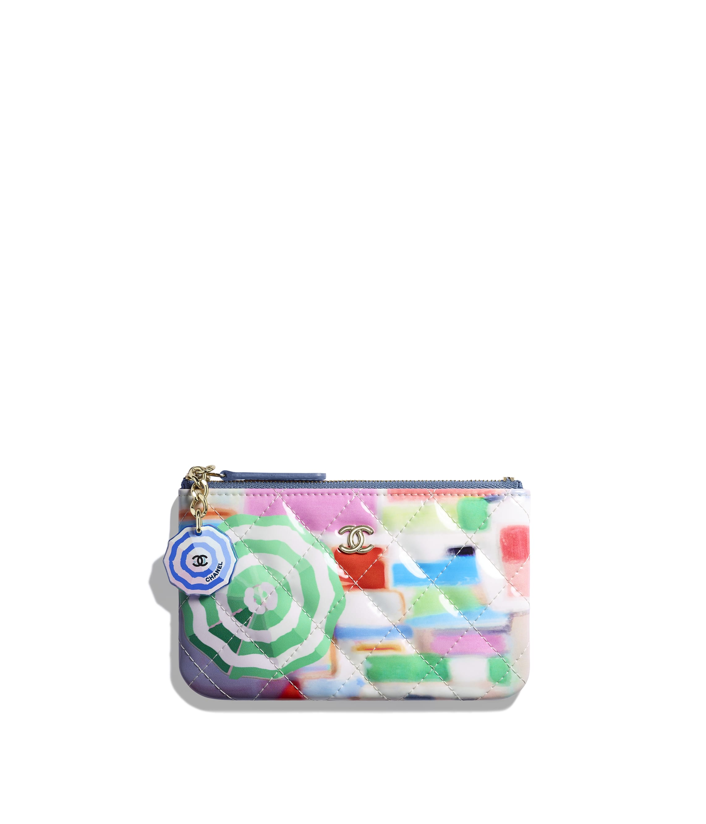 88f344d84fce Classic Small Pouch. Printed Patent Calfskin   Gold-Tone Metal