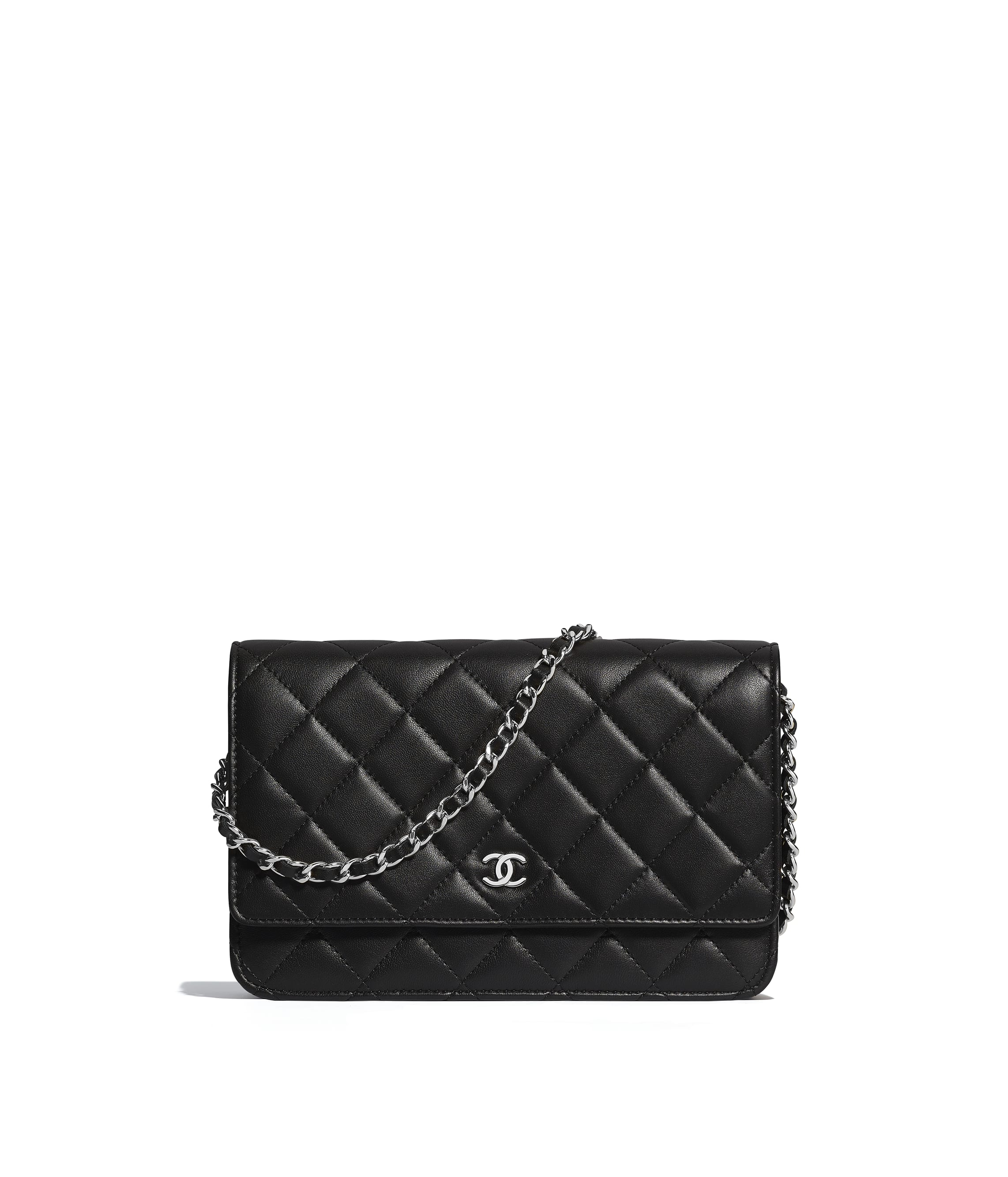 58f4d278b1 Classic Wallet On Chain, lambskin, black - CHANEL