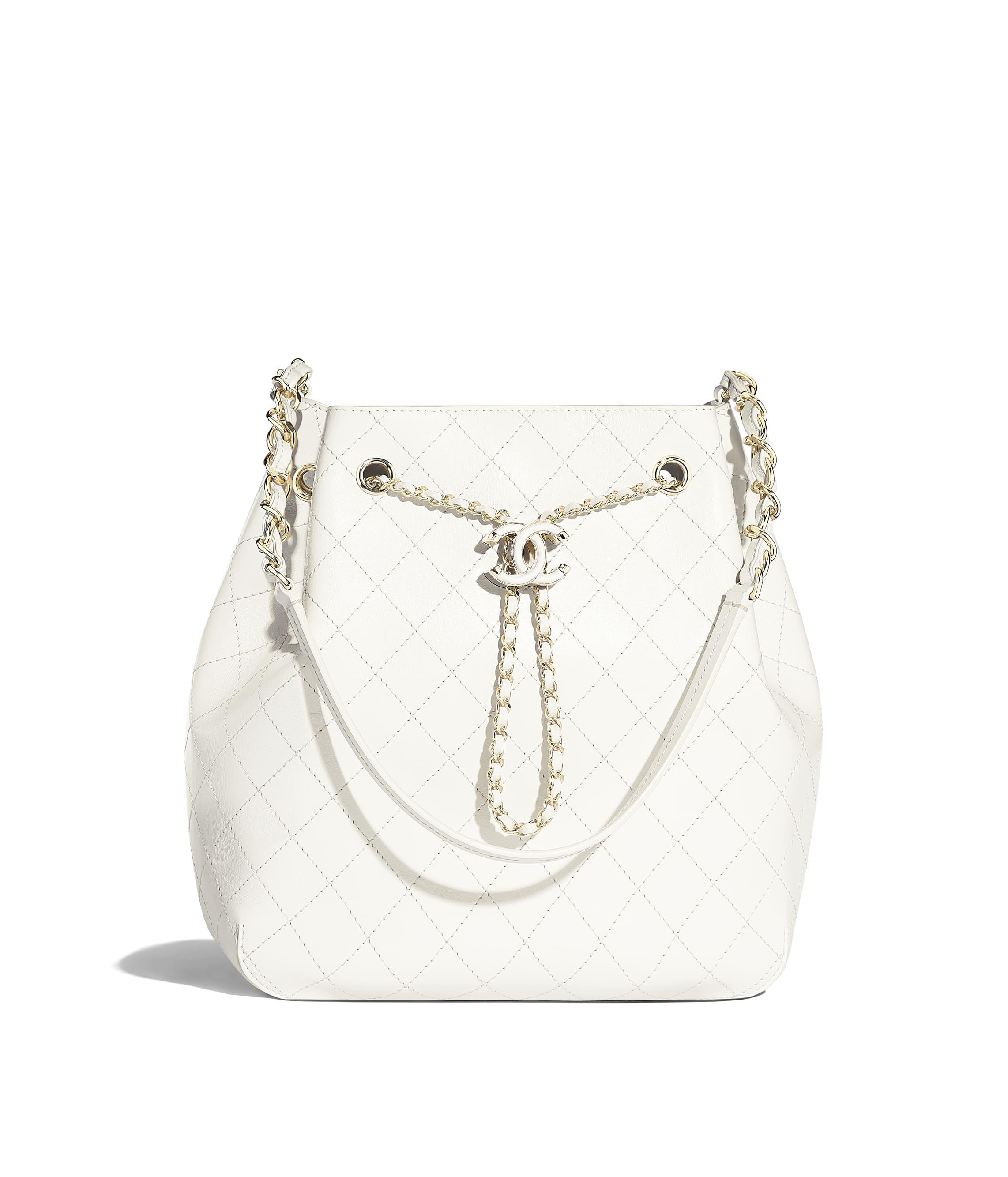 3f959d9d608a Drawstring Bag, calfskin & gold-tone metal, white - CHANEL