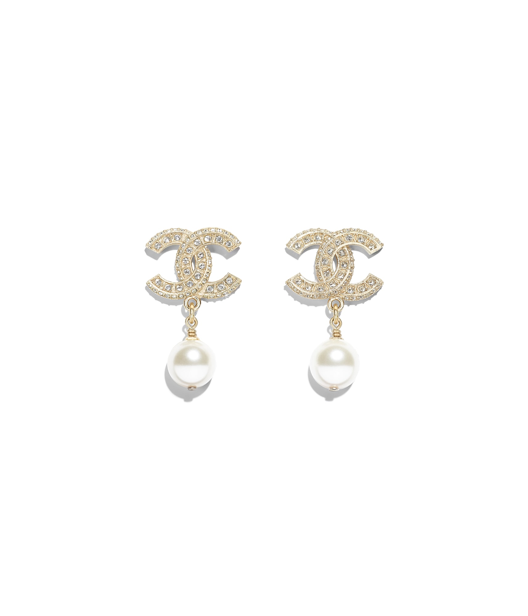 Earrings Metal Gl Pearls Resin Diamantés Gold Pearly White Crystal Chanel